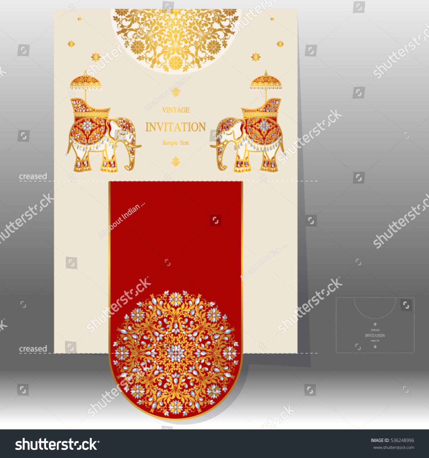 Wedding Invitation Card Templates Gold Elephant Stock Vector ...