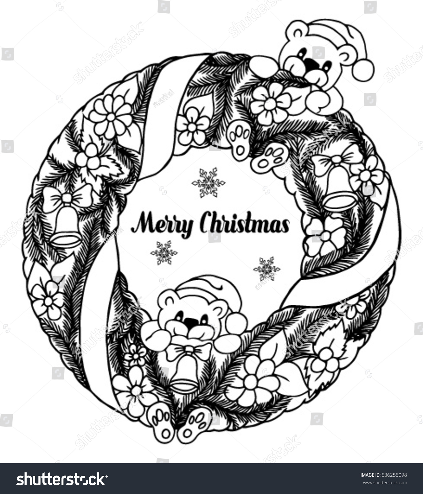Vector Illustration Zentagl Christmas Wreath Flowers Stock