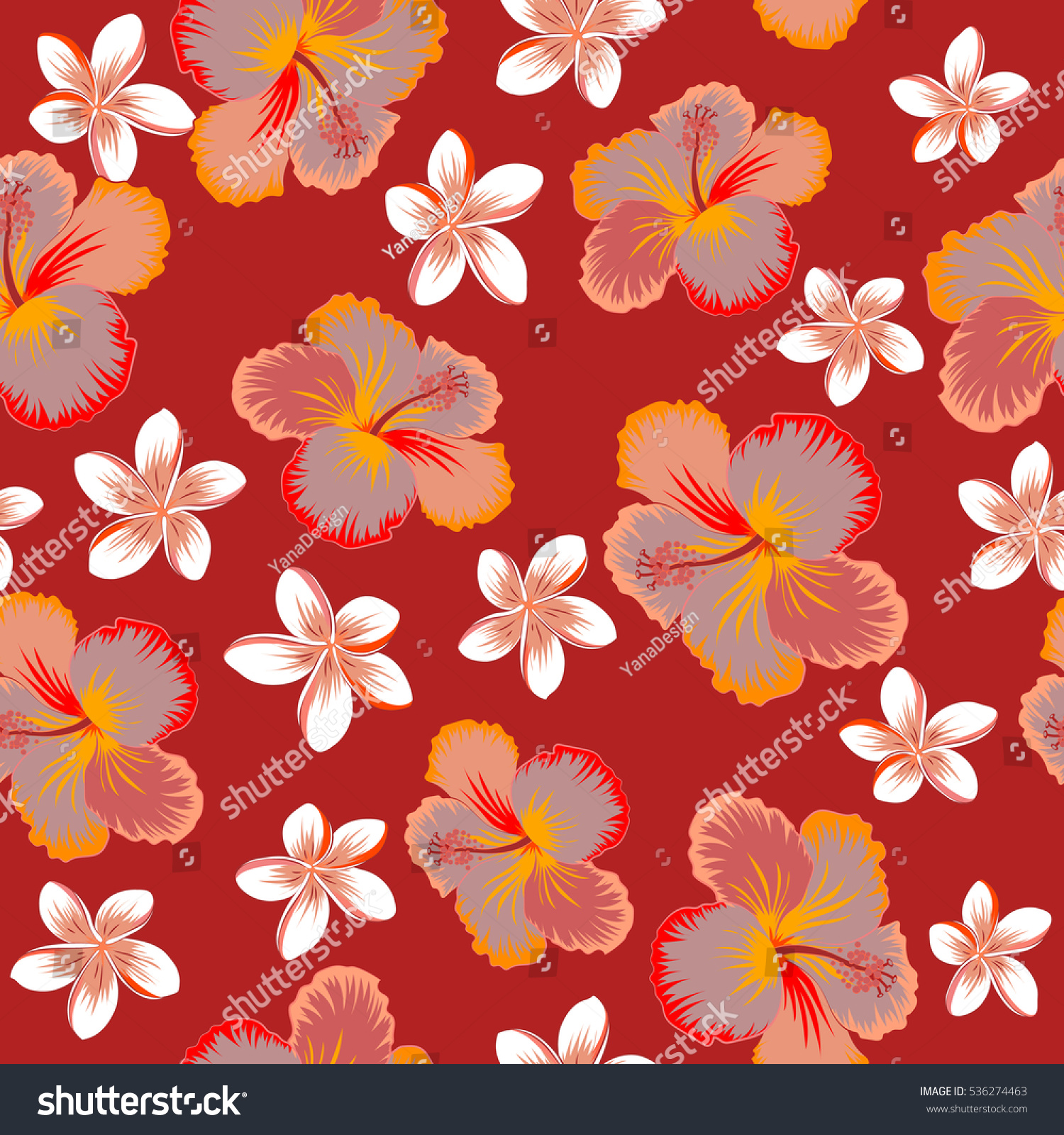 Pretty Orange Pink And Red Floral Print Motley Seamless Pattern