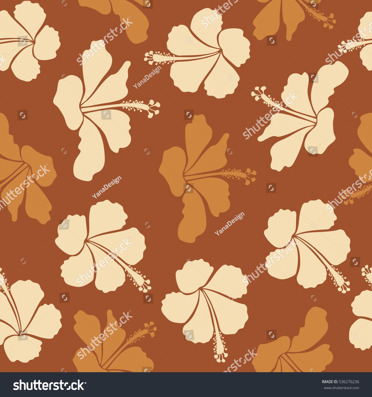 Hibiscus Flower Background Pretty Beige Brown Stock Illustration