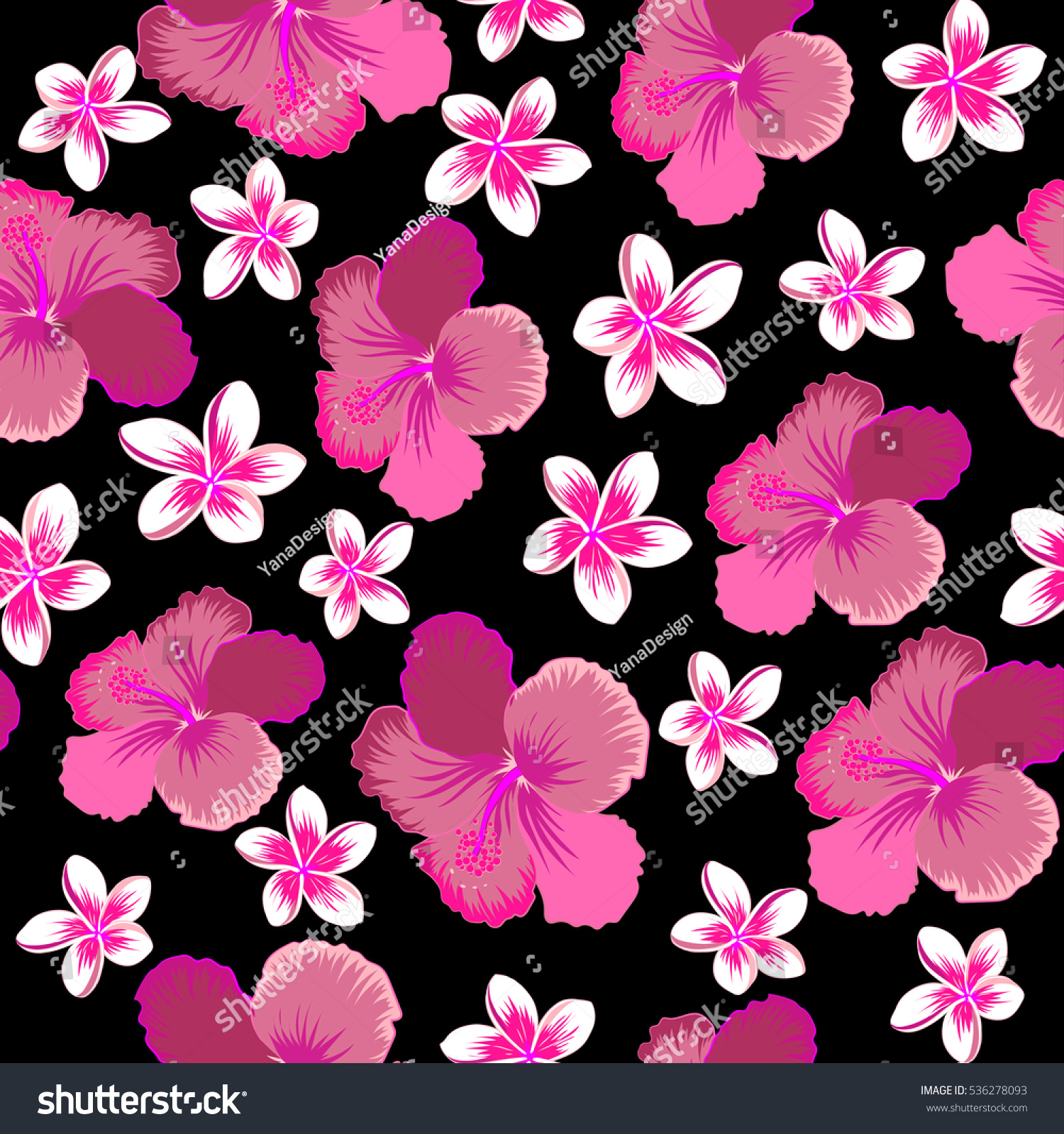 Hibiscus Flower Seamless Pattern In Neutral Pink And Magenta Colors