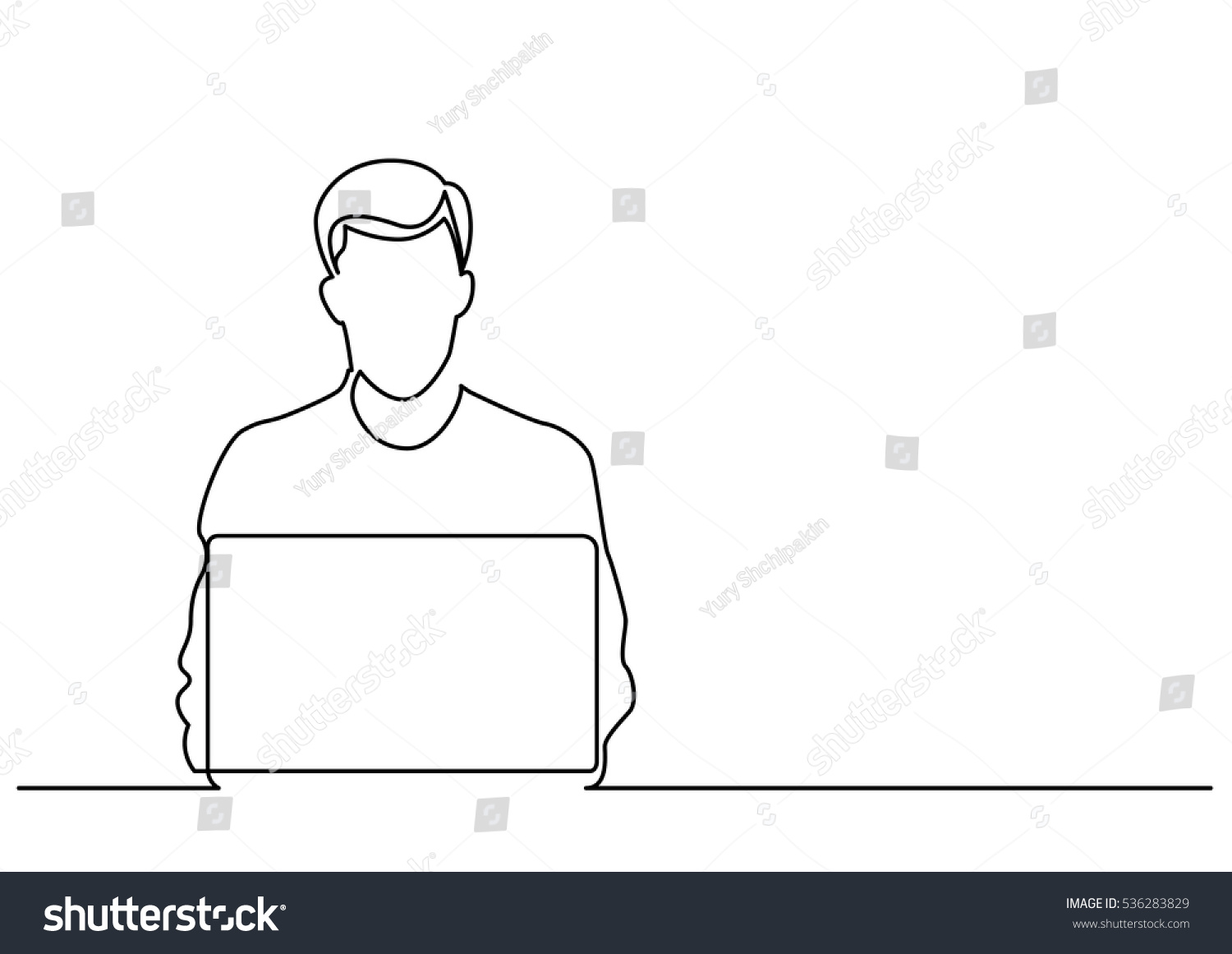 Line Drawing Man : Continuous line drawing man sitting behind stock vector