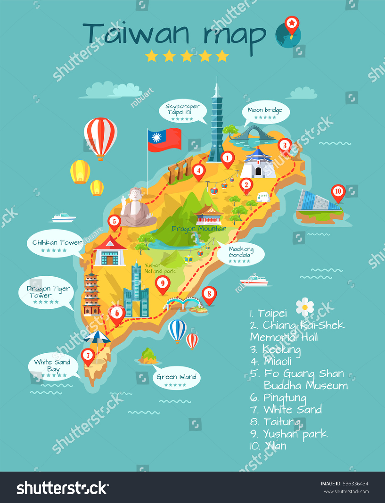 Taiwan Kartta Sightseeing Taipeissa Chiang Kai Shekin