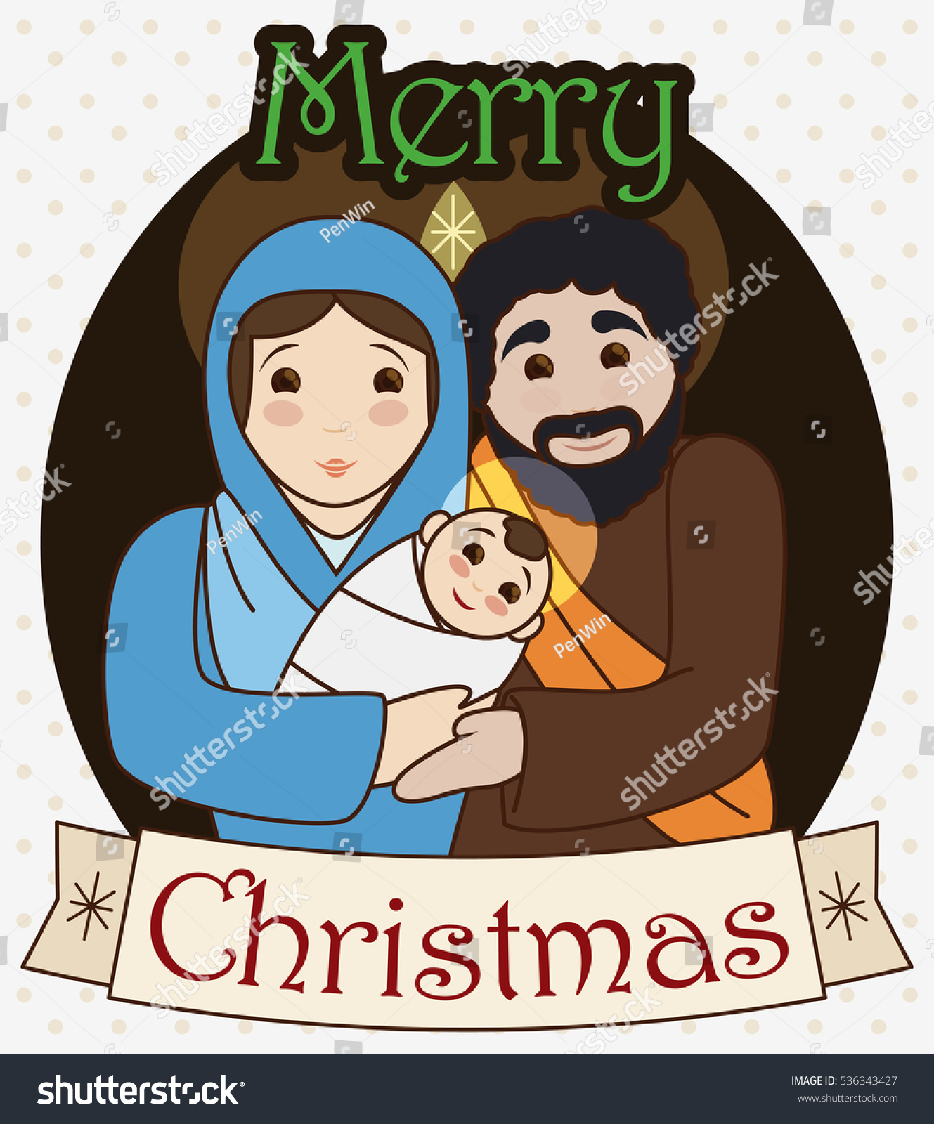 Poster holy family baby jesus virgin stock vector 536343427 poster with the holy family baby jesus virgin mary and saint joseph with greeting kristyandbryce Images