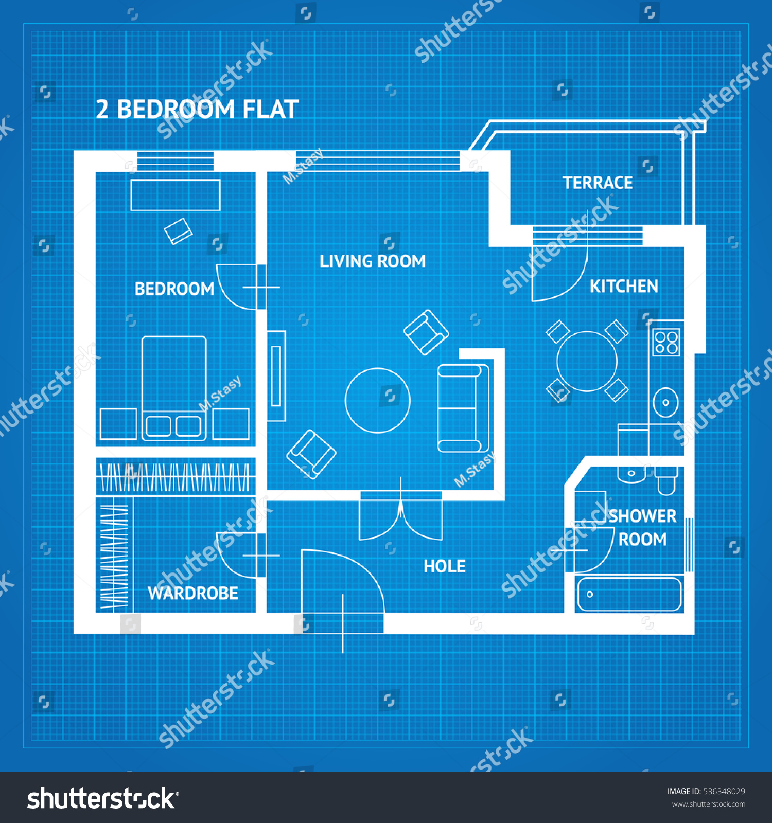Apartment floor plan blueprint furniture top stock vector 536348029 apartment floor plan blueprint with furniture top view vector illustration malvernweather Choice Image