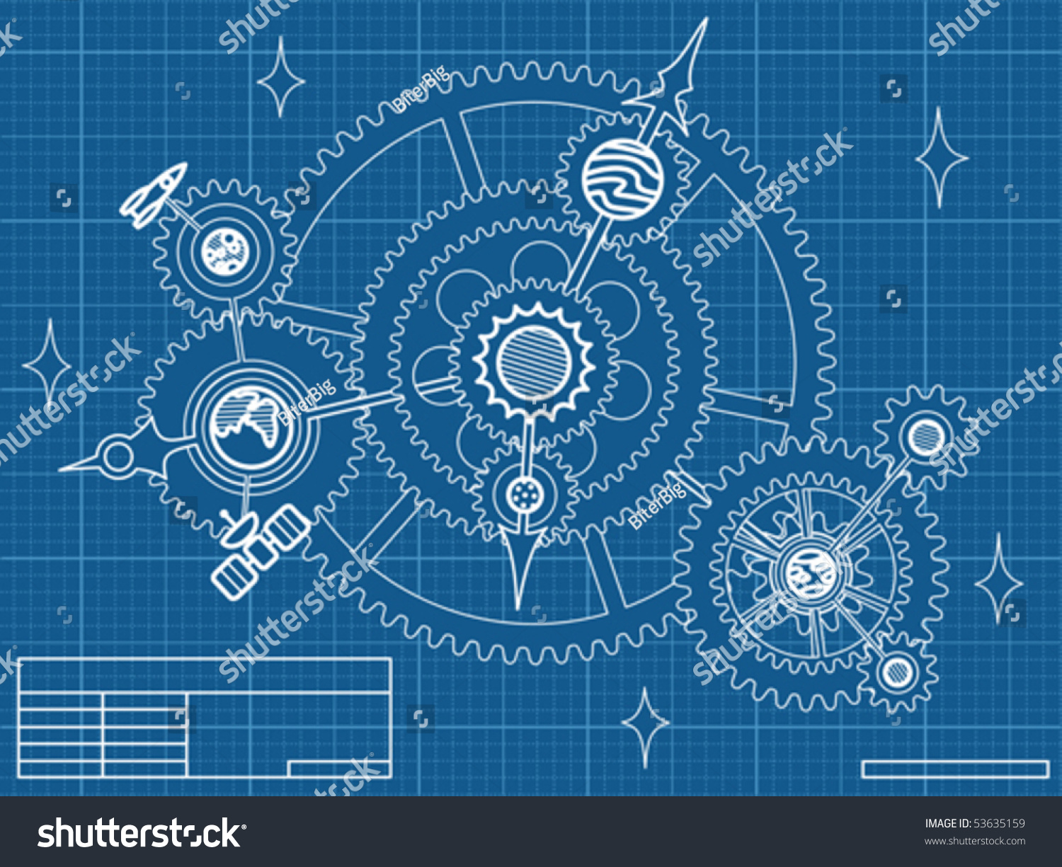 blueprint space mechanic planets stars gearwheels stock vector