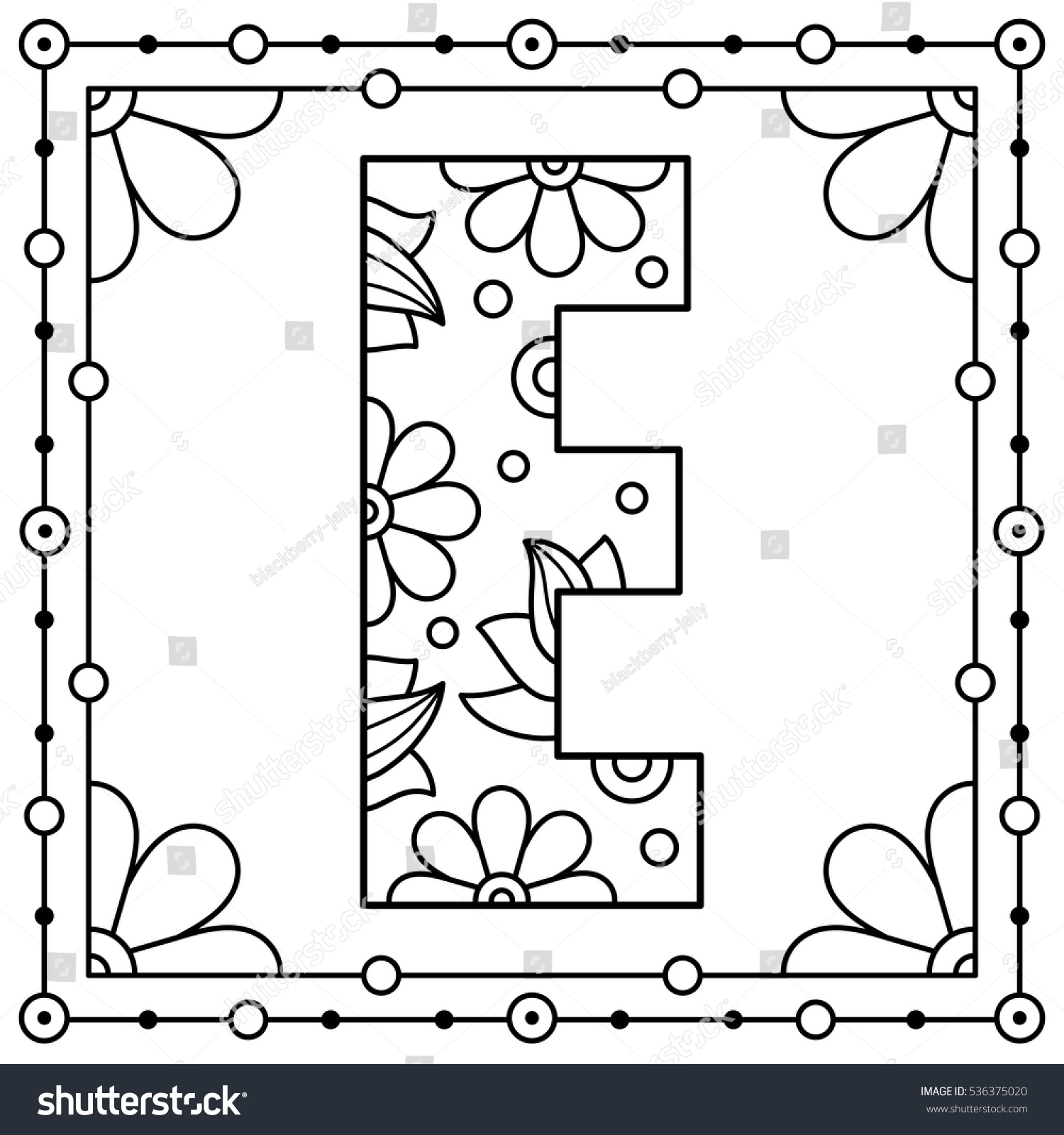 alphabet coloring page capital letter e stock vector 536375020