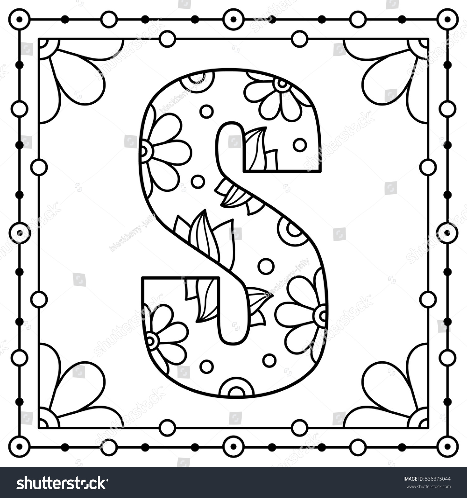 alphabet coloring page capital letter vector stock vector