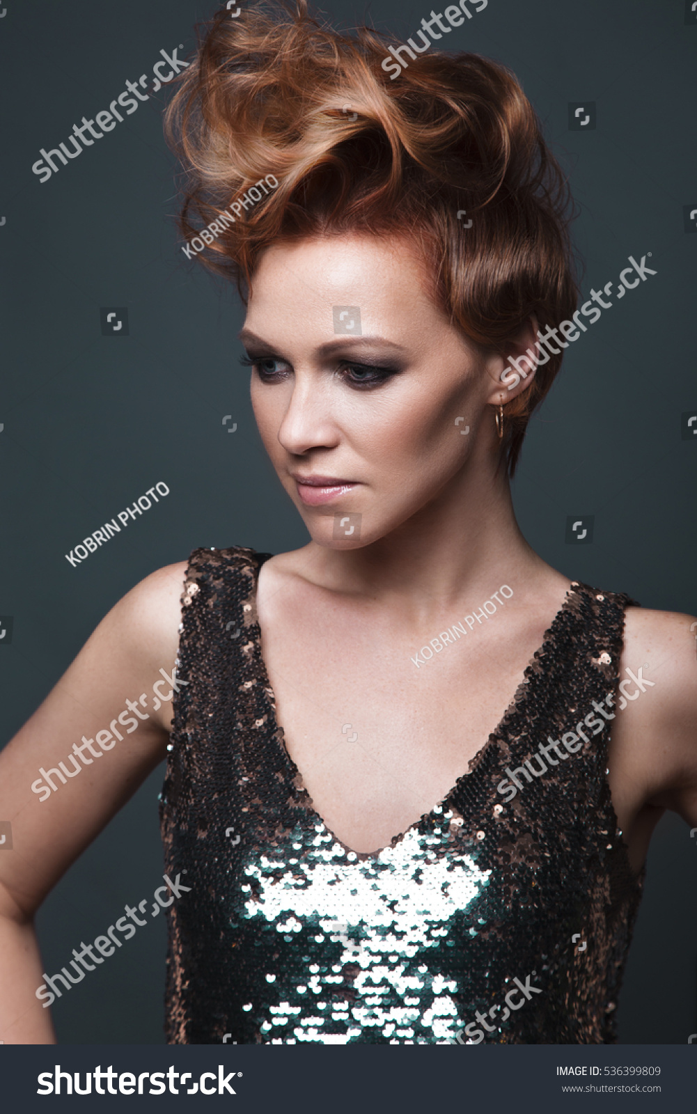 Beautiful Girl Evening Dress Avantgarde Hairstyles Stock Photo (Edit ...