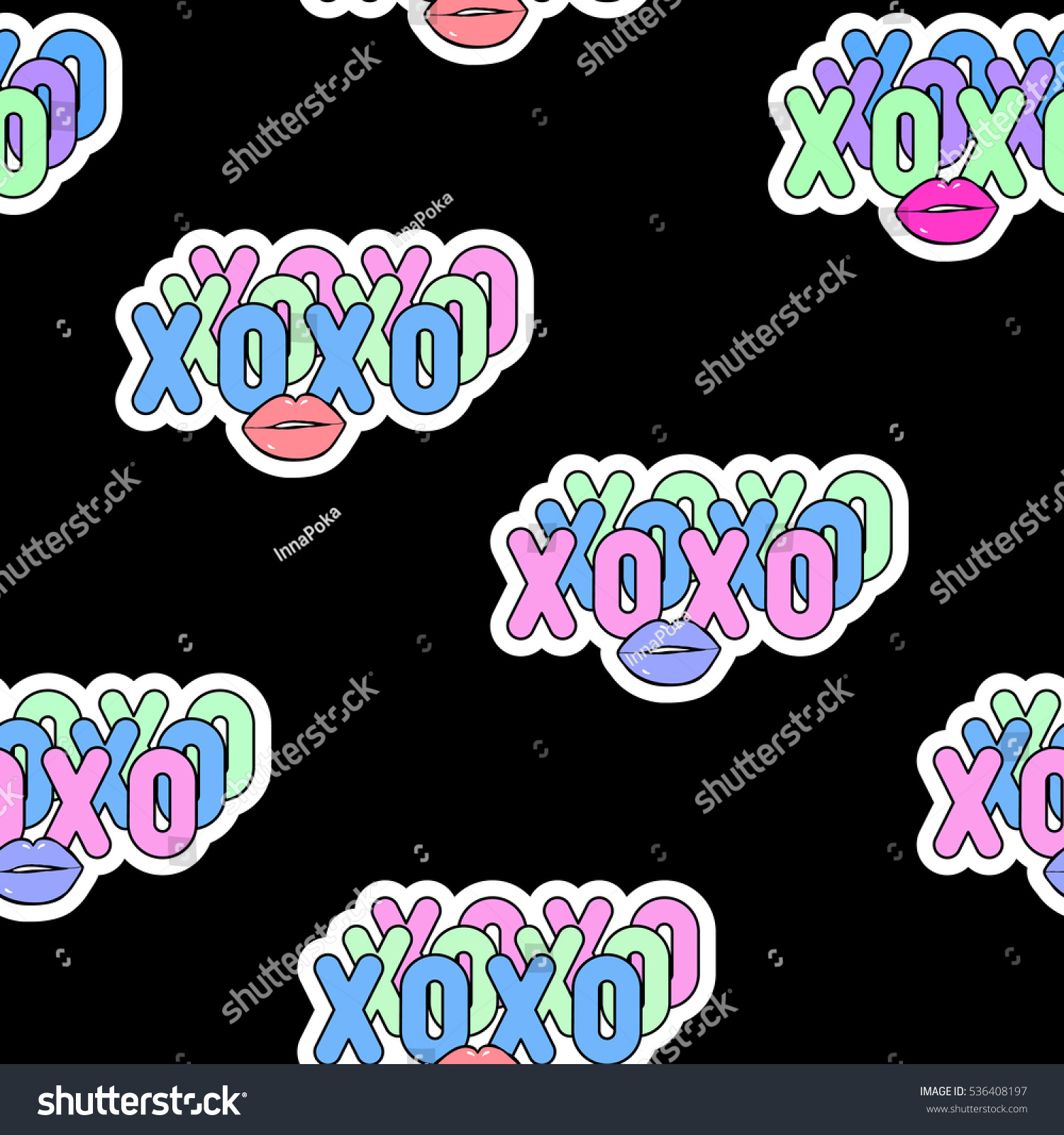 Seamless pattern xoxo abbreviation text kiss stock vector seamless pattern with xoxo abbreviation text and kiss lips symbols patch badges biocorpaavc