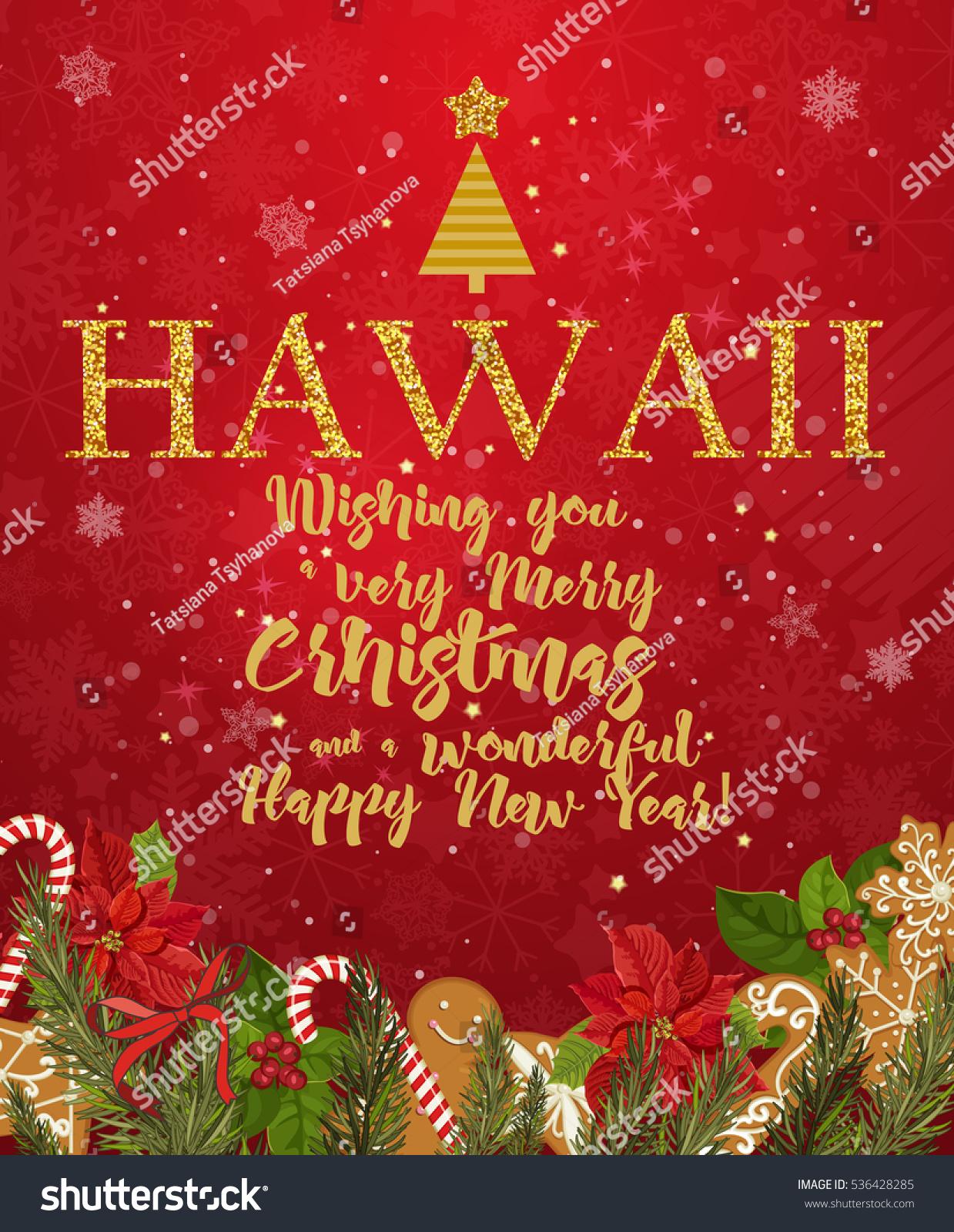 Hawaii Merry Christmas Happy New Year Stock Vector (Royalty Free ...