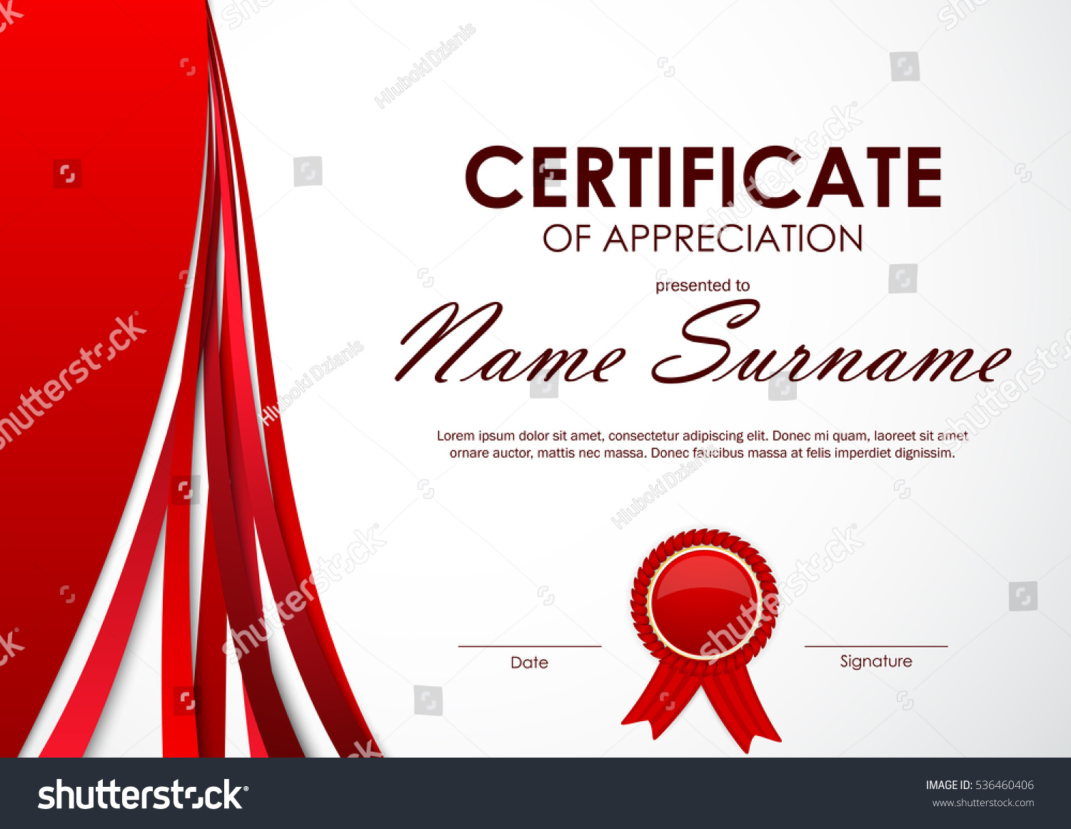 Certificate appreciation template paper light red stock vector certificate of appreciation template with paper light red dynamic background and label vector illustration yadclub Gallery