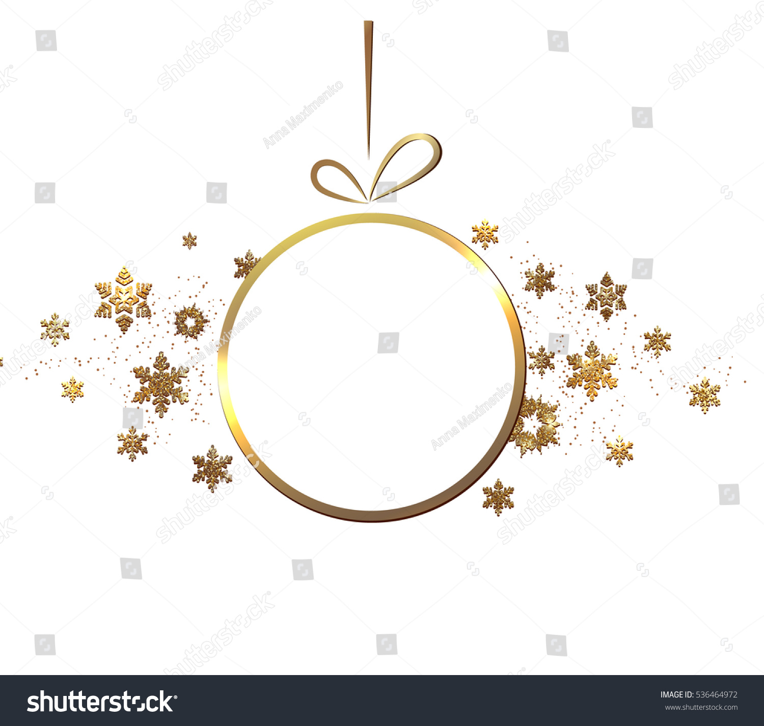 The Gold Glitter Winter Holiday Border Frame In Shape Of Christmas Ornament For Your