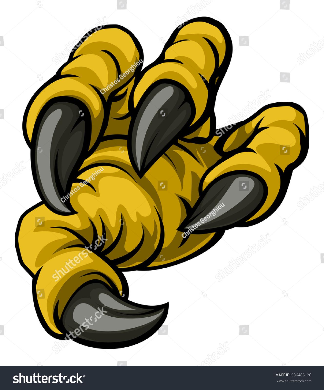 cartoon eagle bird claw long talons stock vector 536485126