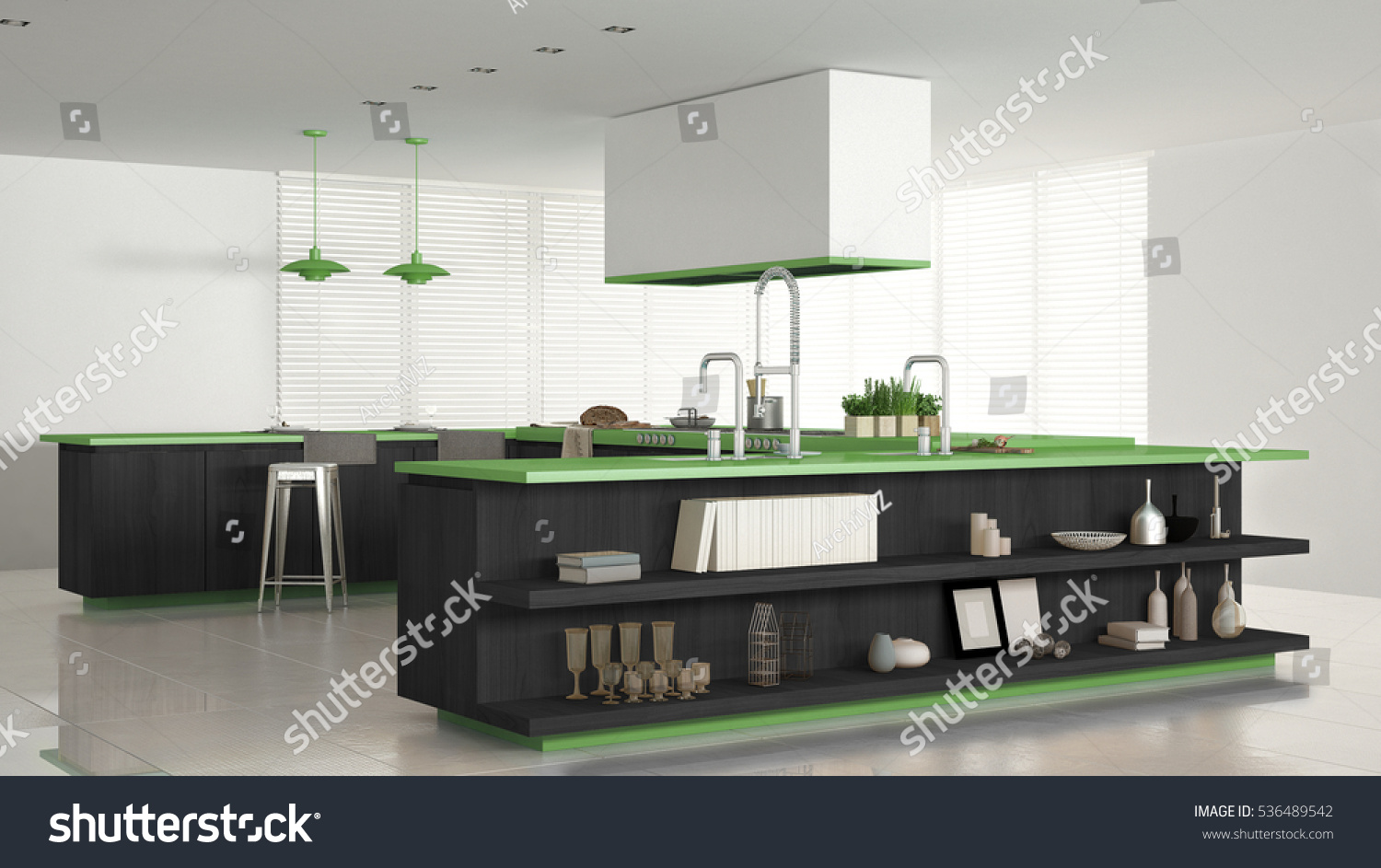 Minimalistic White Kitchen Wooden Green Details Stock Illustration 536489542 Shutterstock