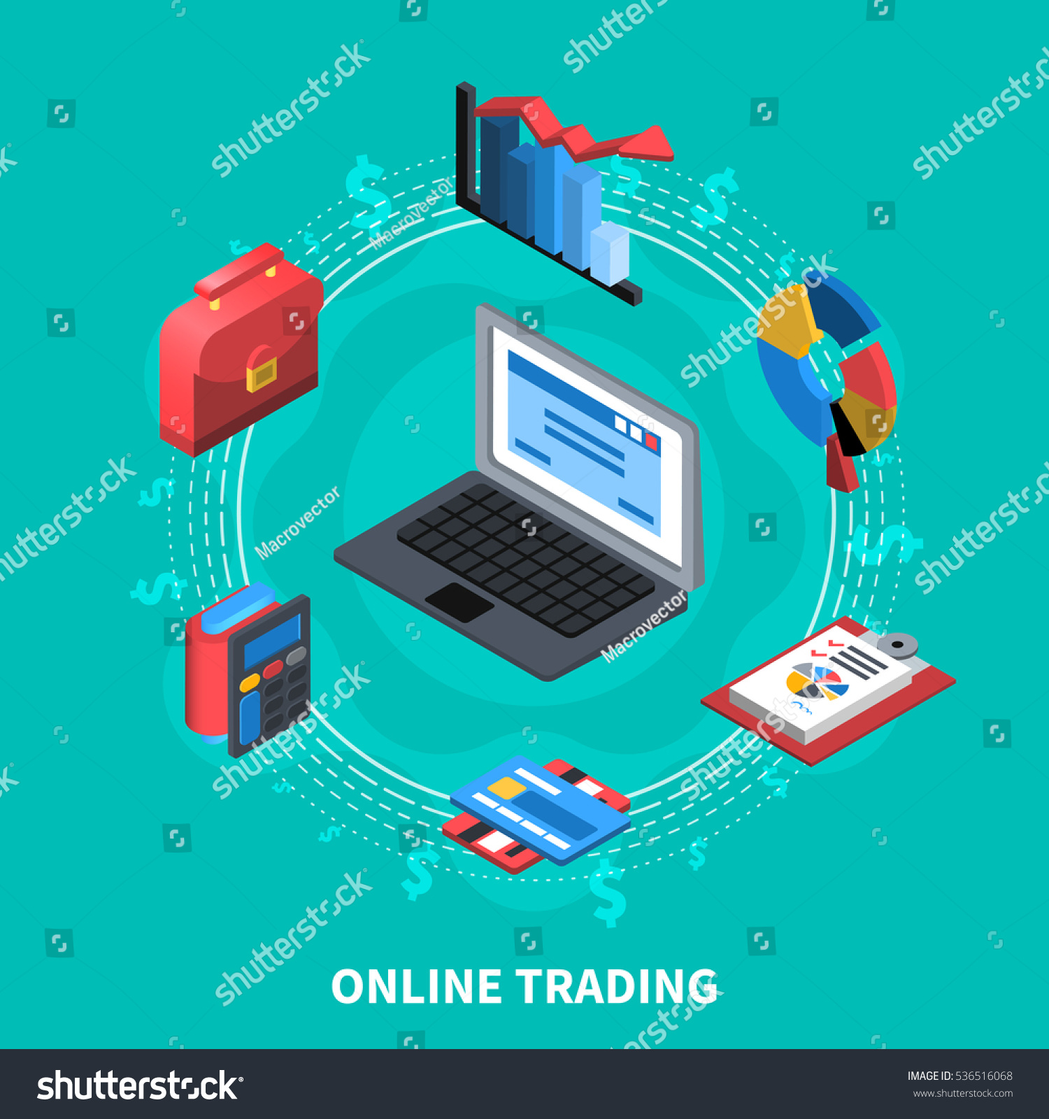 Online Trading Financial Isometric Icons Round Stock Vector (Royalty ...