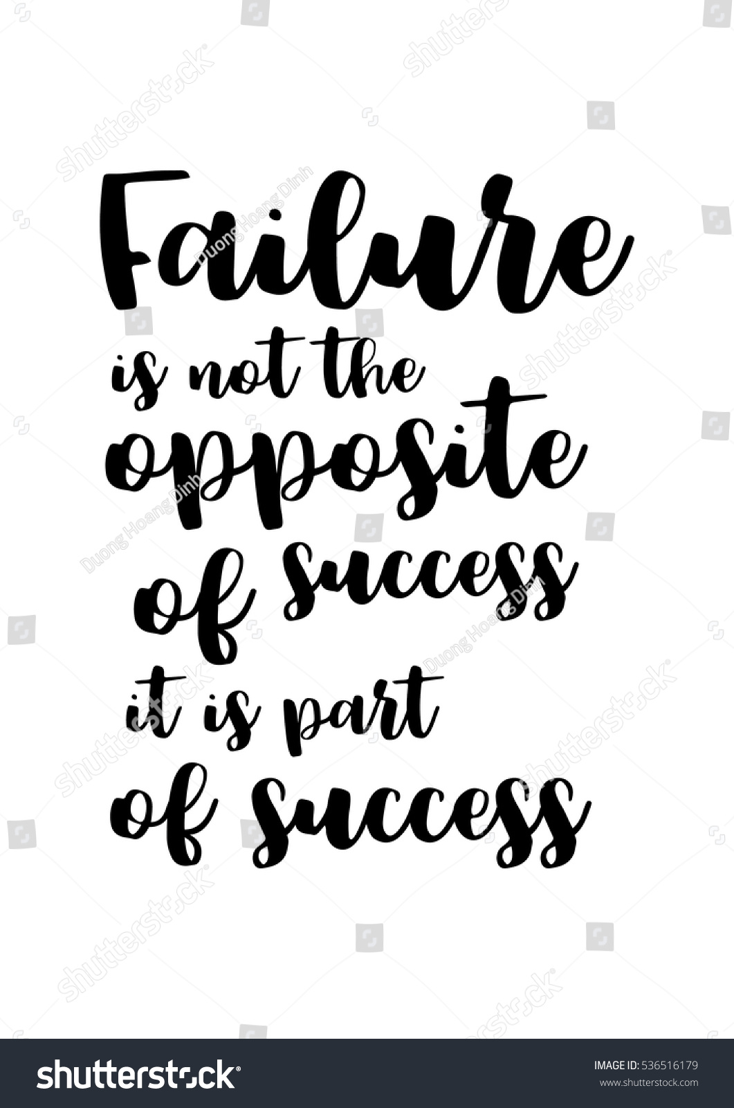 Inspirational Quotes About Failure: Motivational Quote Vector Lettering Poster Black Stock