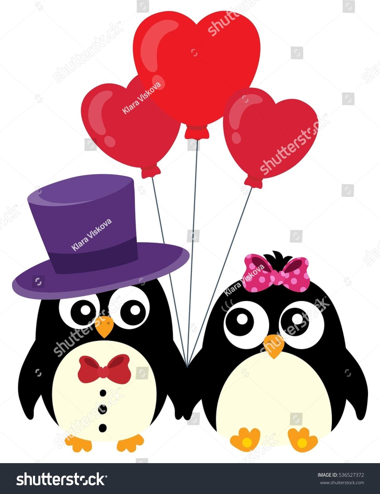 Valentine Penguins Theme Image 1   Eps10 Vector Illustration.