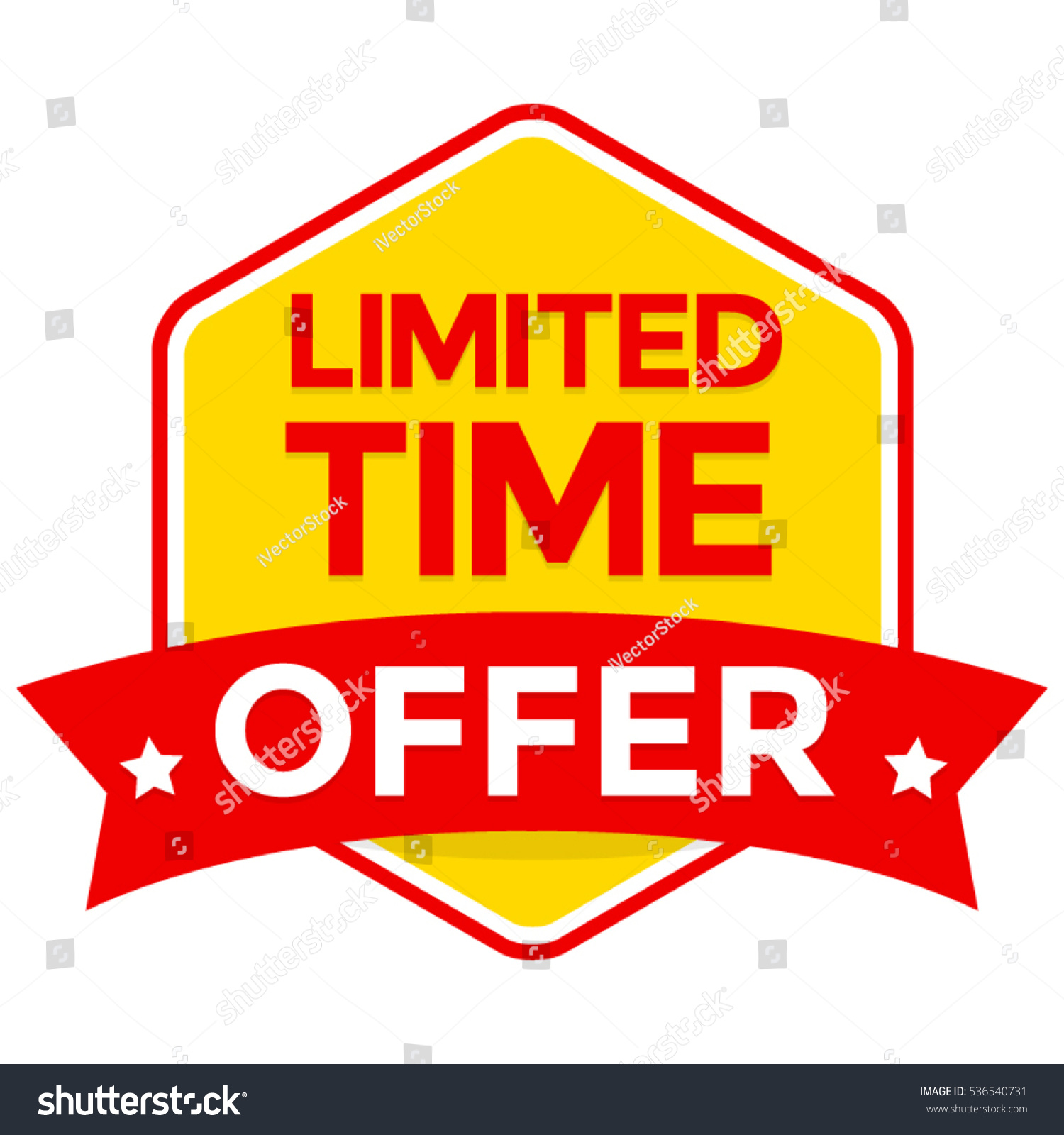 Offer: Limited Time Offer Badge Vector Flat Stock Vector