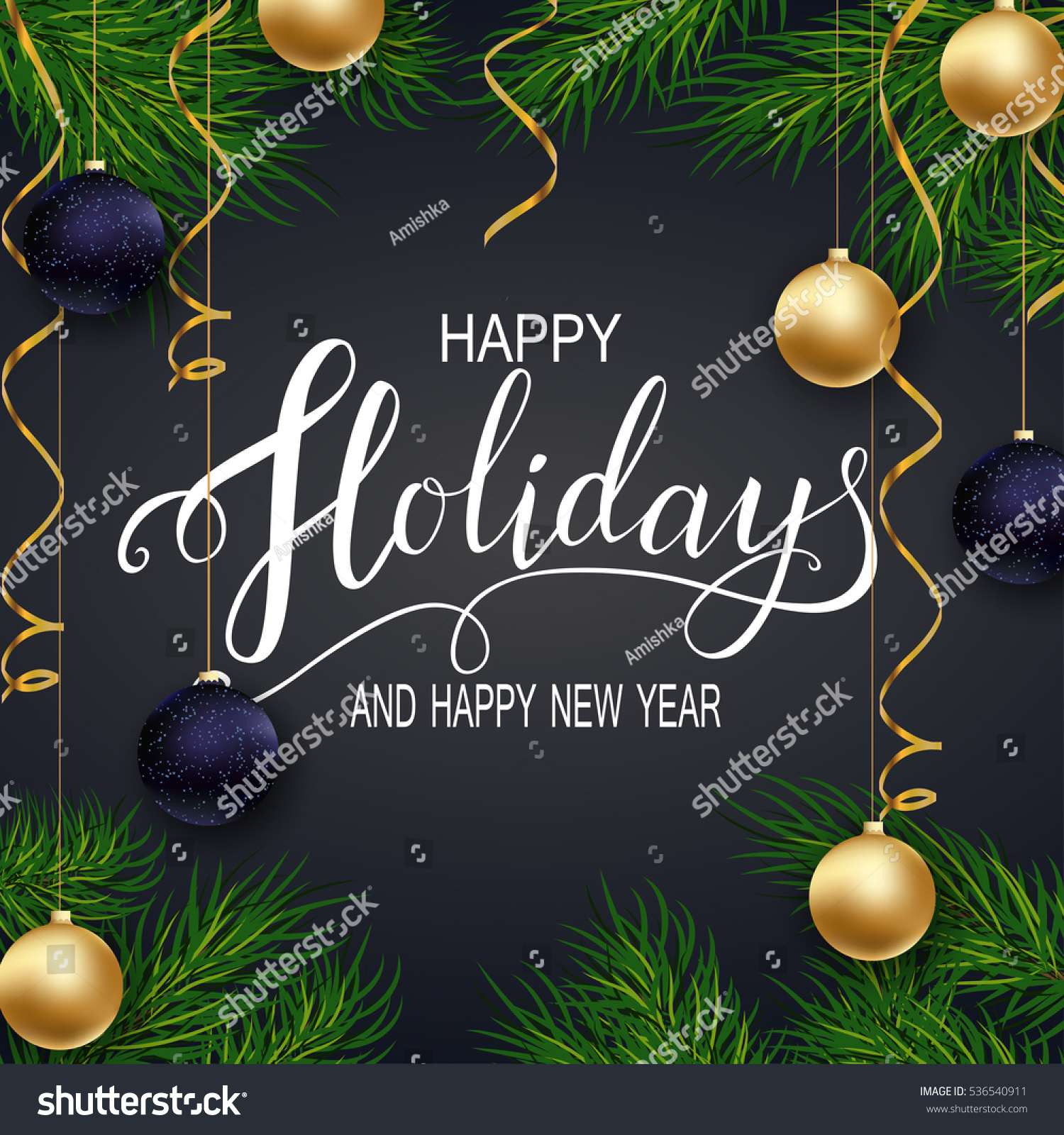 happy new year 2017holidays greeting card for winter happy holidays fir tree