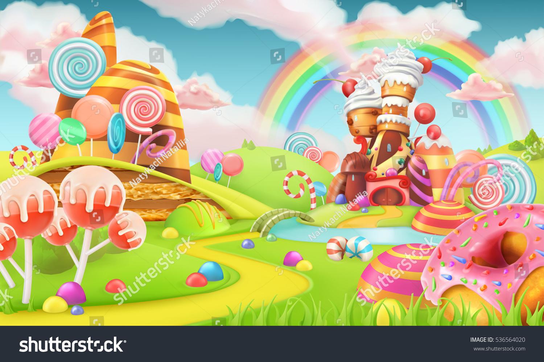 Sweet Candy Land Cartoon Game Background Vector de stock536564020 ...