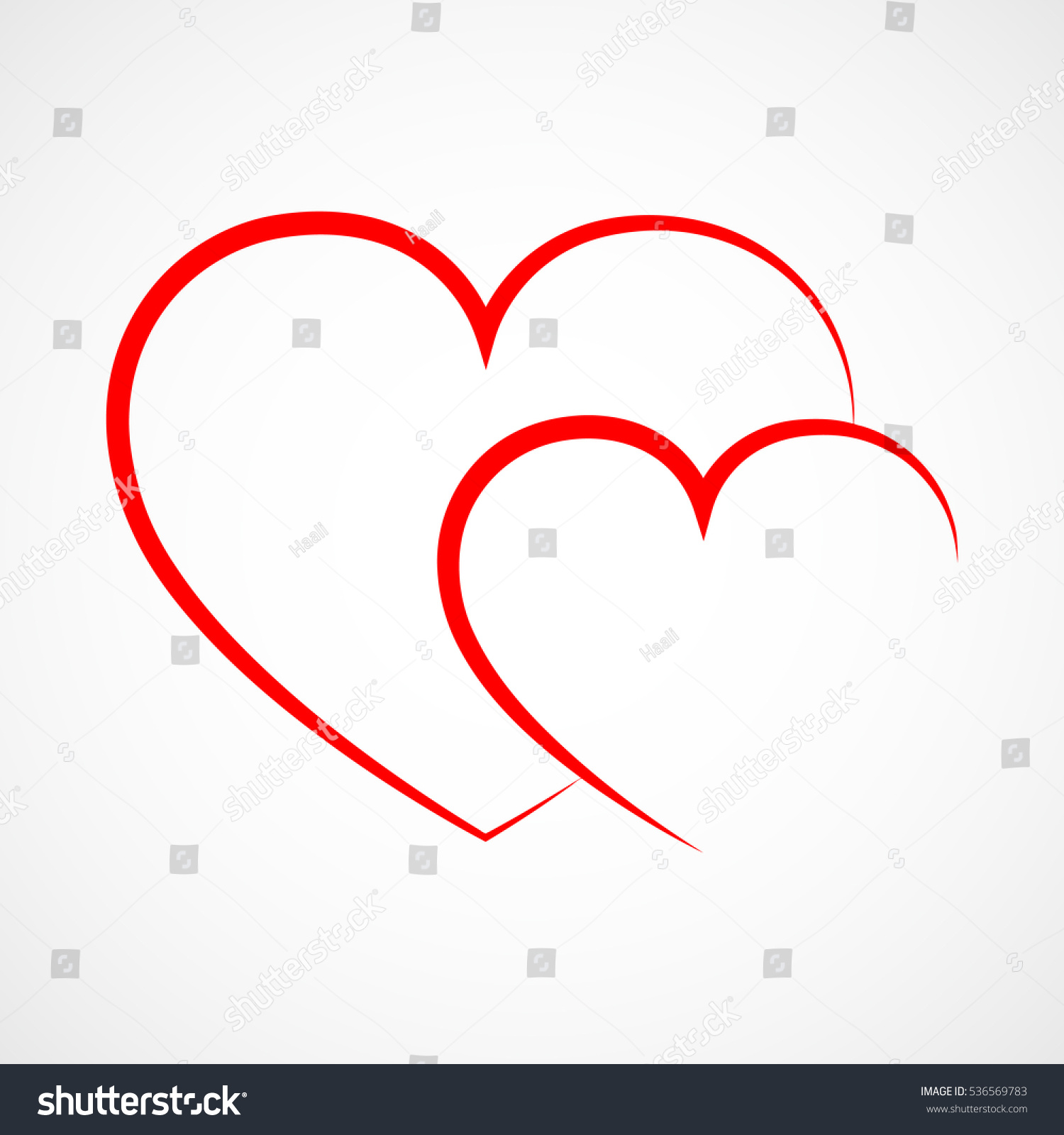 abstract heart shape outline vector illustration stock vector