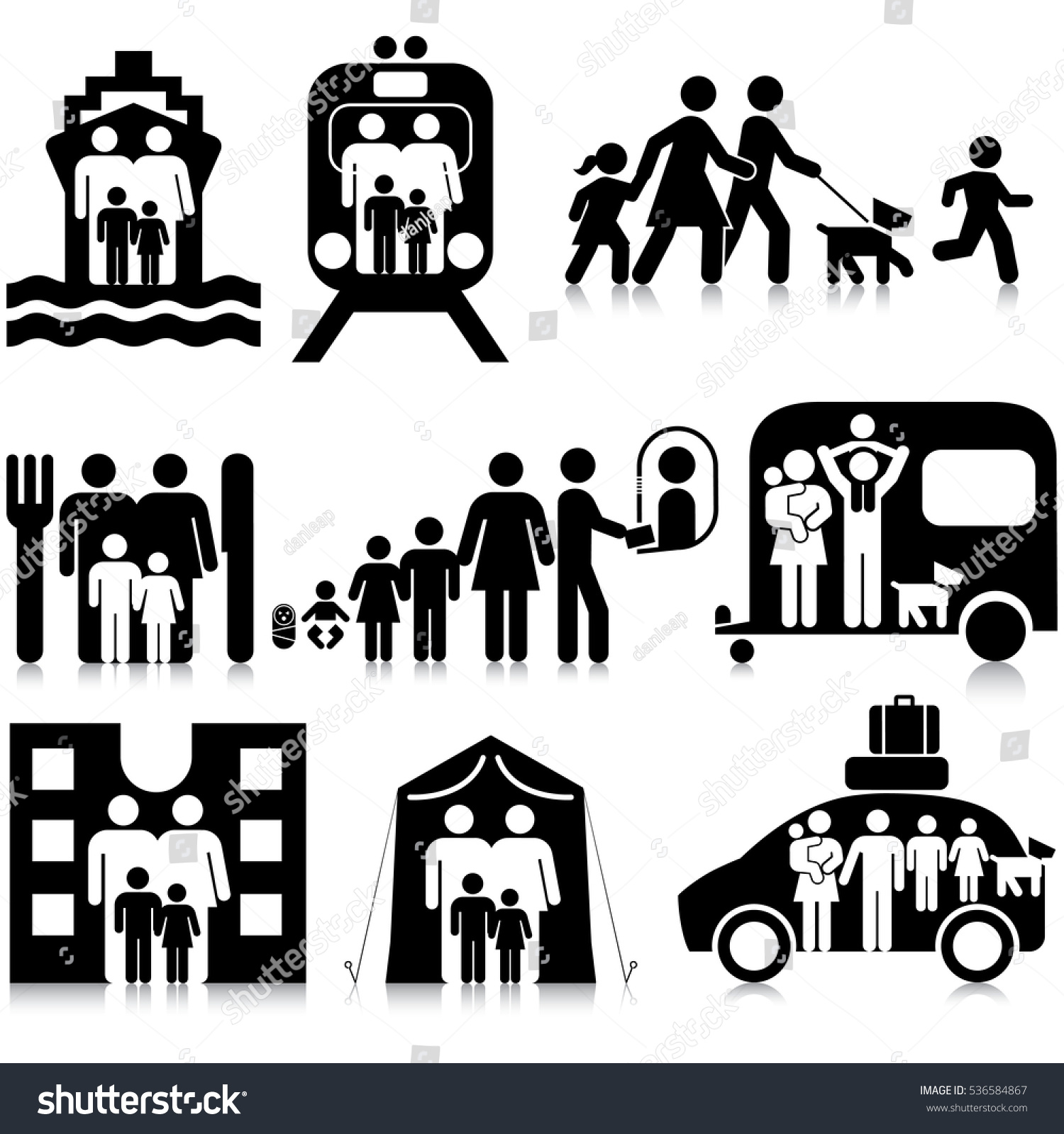 Family Travel Activities Info Graphic Resource Icon Set
