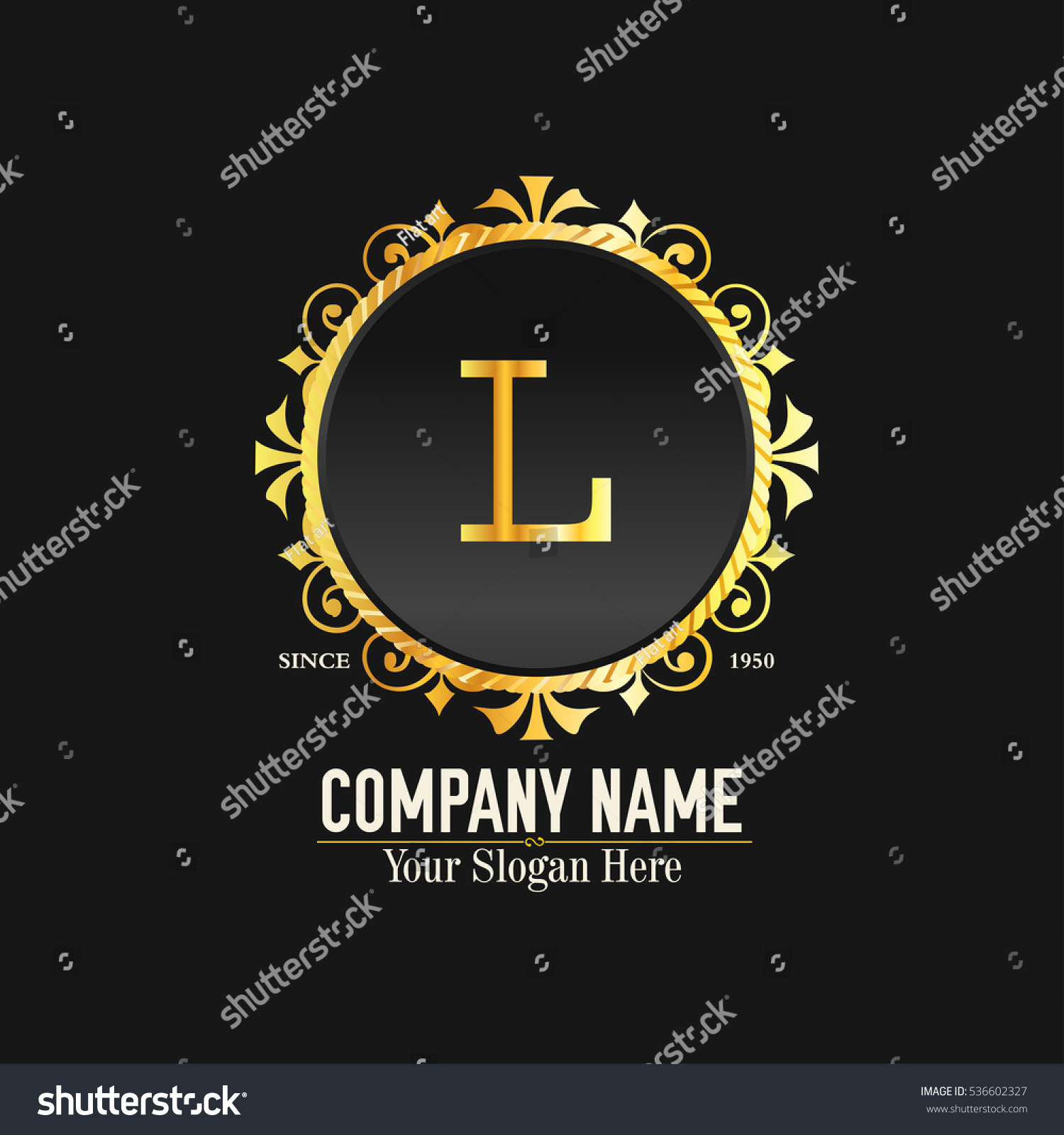 L Letter Logo Golden Monogram Design Elements Line Art Beautiful Boutique