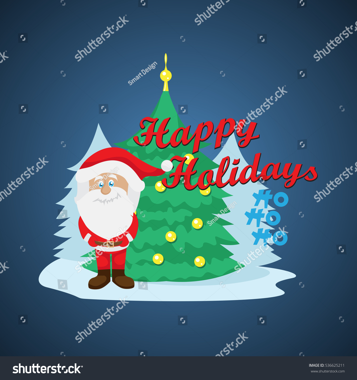 Santa Claus Greeting Card Isolated On Stock Vector 536625211