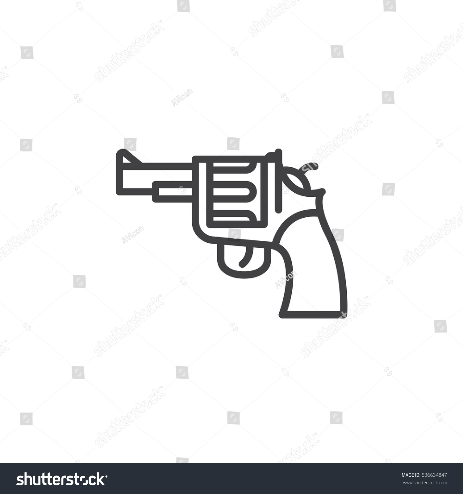 Gun revolver line icon outline vector stock vector 536634847 gun revolver line icon outline vector sign linear pictogram isolated on white buycottarizona