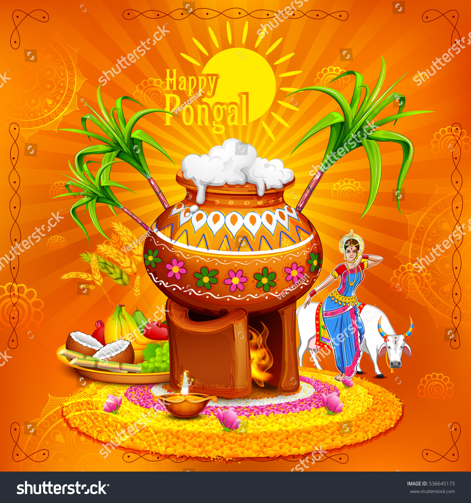 Illustration happy pongal greeting background stock vector royalty illustration of happy pongal greeting background m4hsunfo