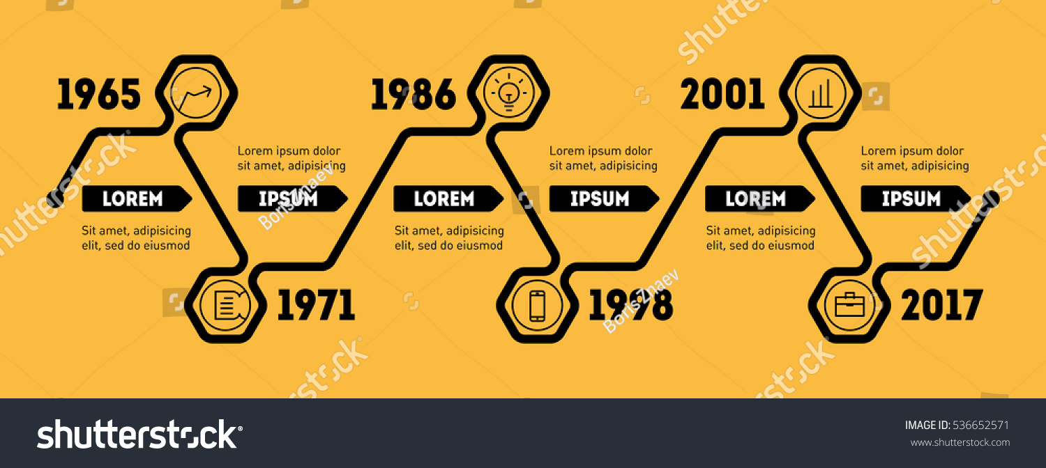 horizontal infographic timeline vector web template stock vector