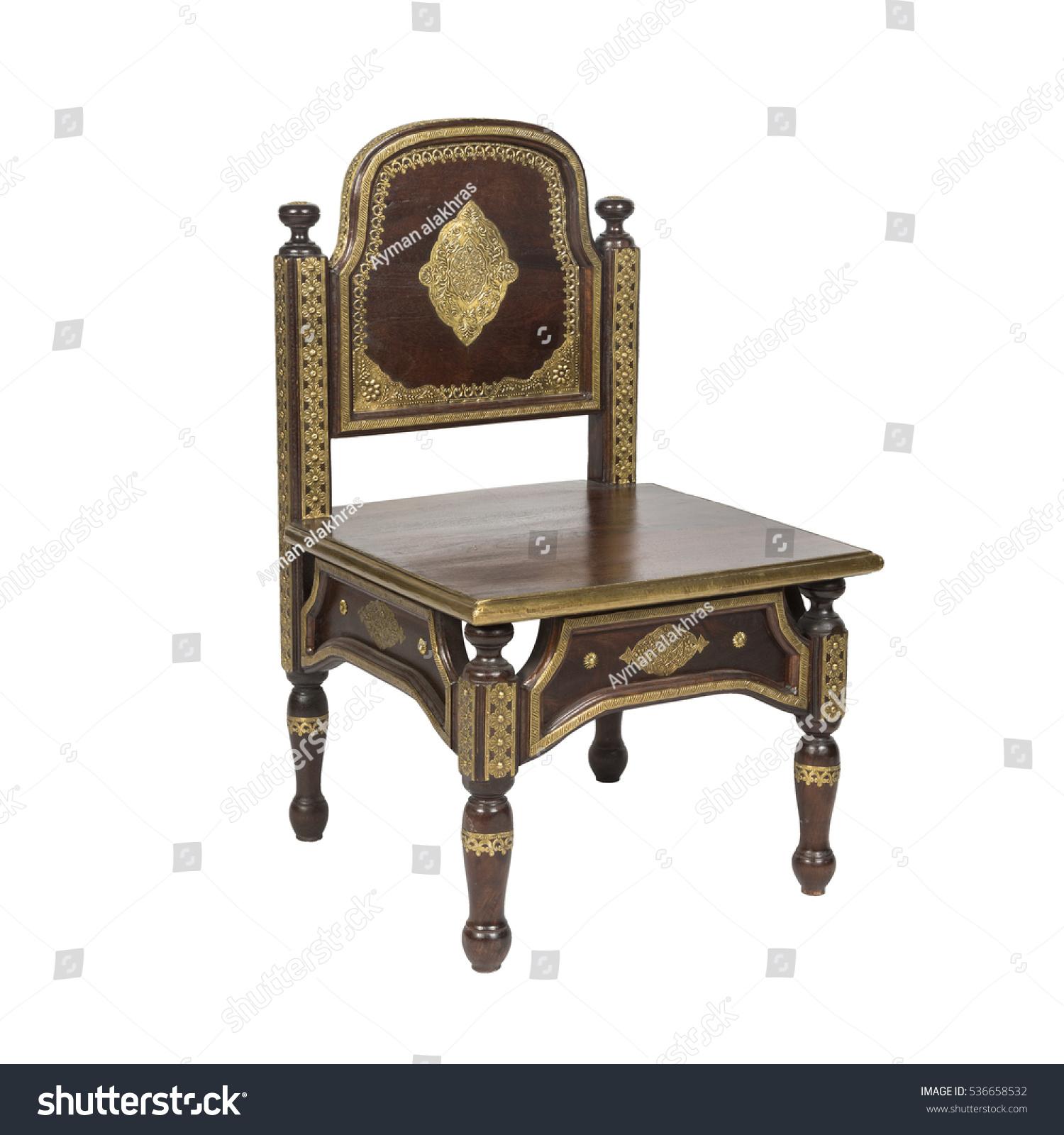 Retro Arabesque Wooden Chair Isolated Stock
