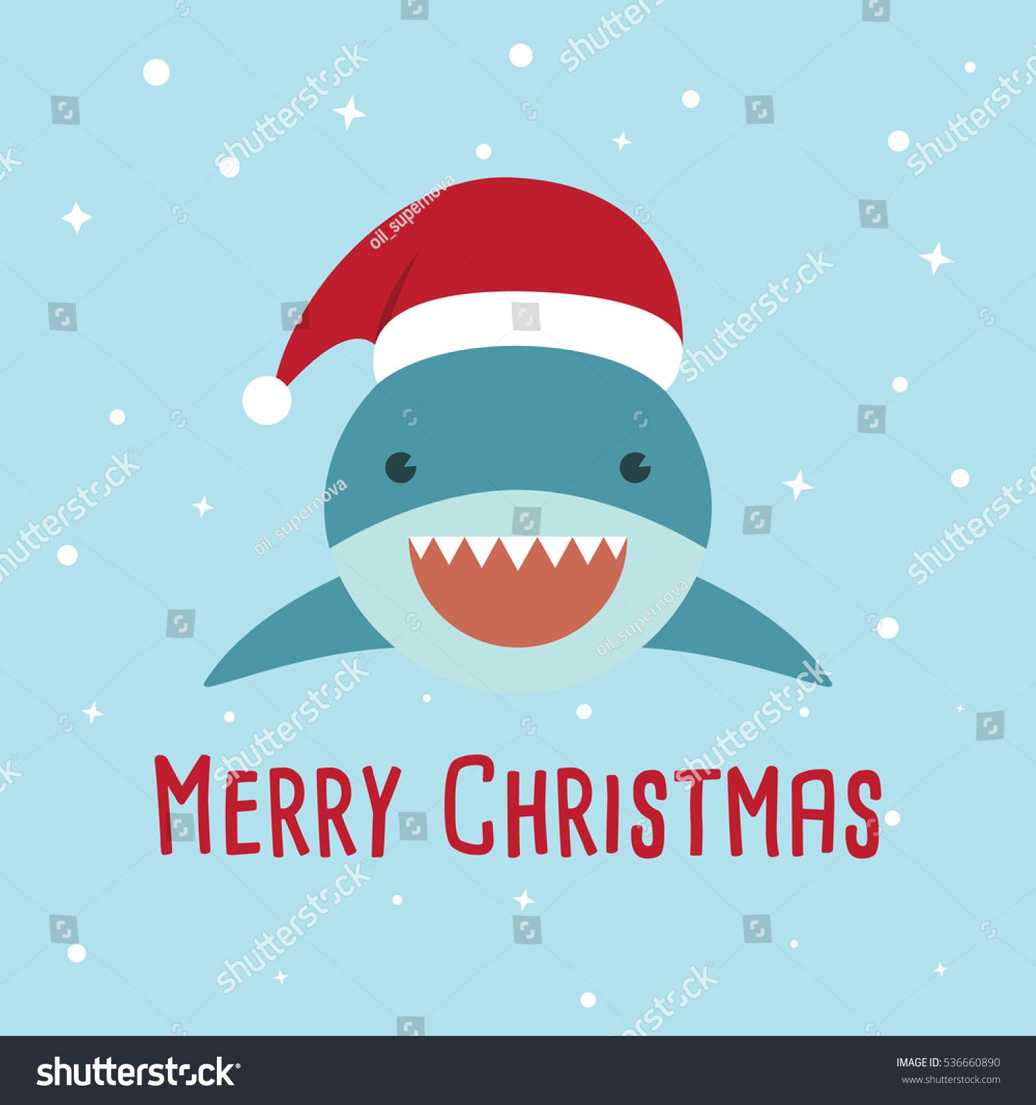 Shark Cartoon Character Cute Shark Wearing Stock Vector