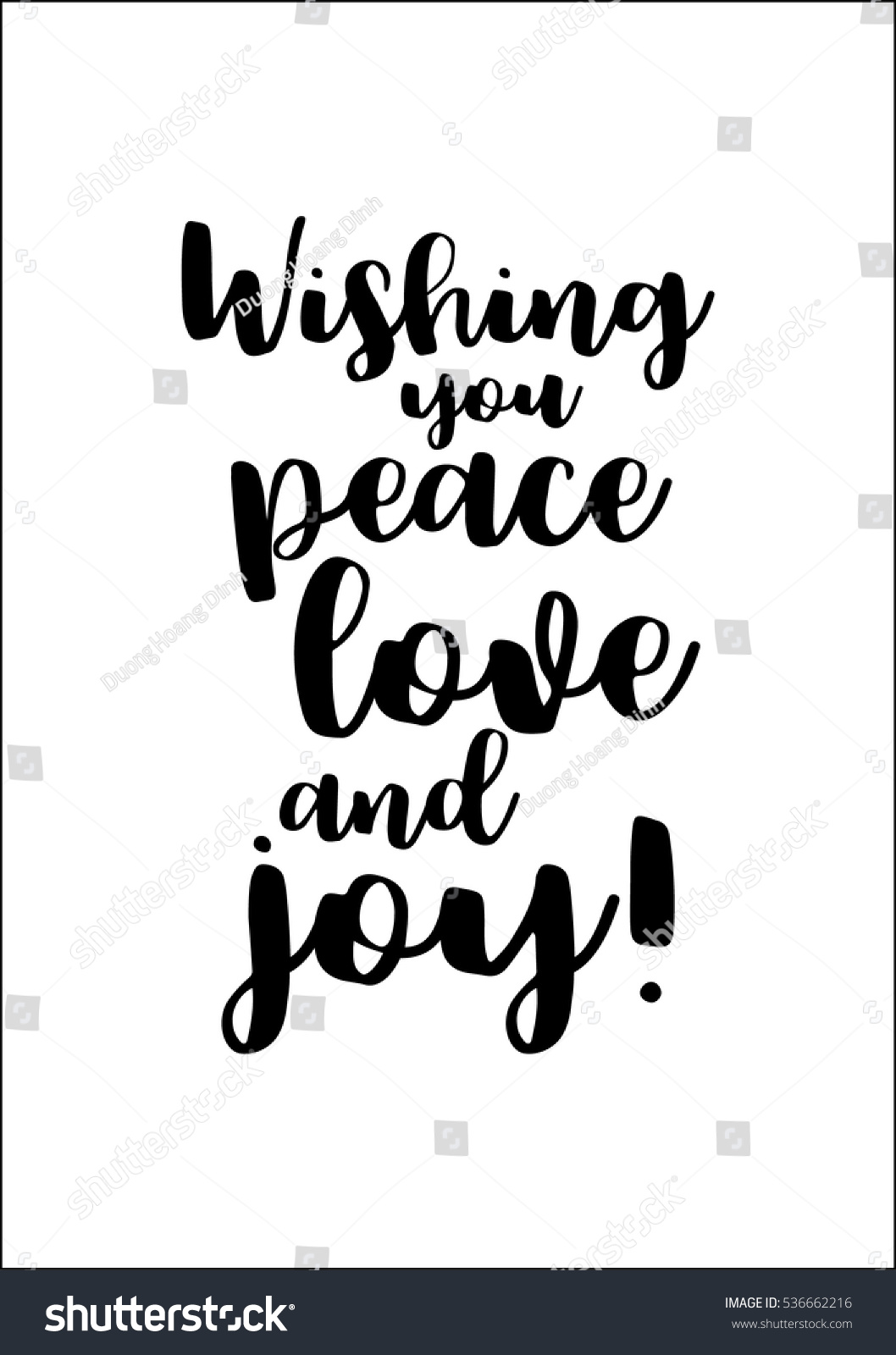 Peace Love Joy Quotes Isolated Calligraphy On White Background Quote Stock Vector