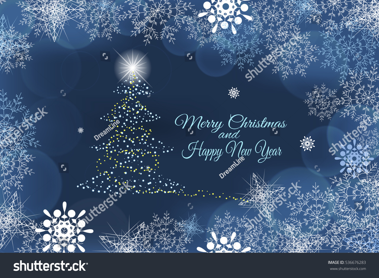 vector merry christmas and happy new year abstract blue background with christmas tree in the center