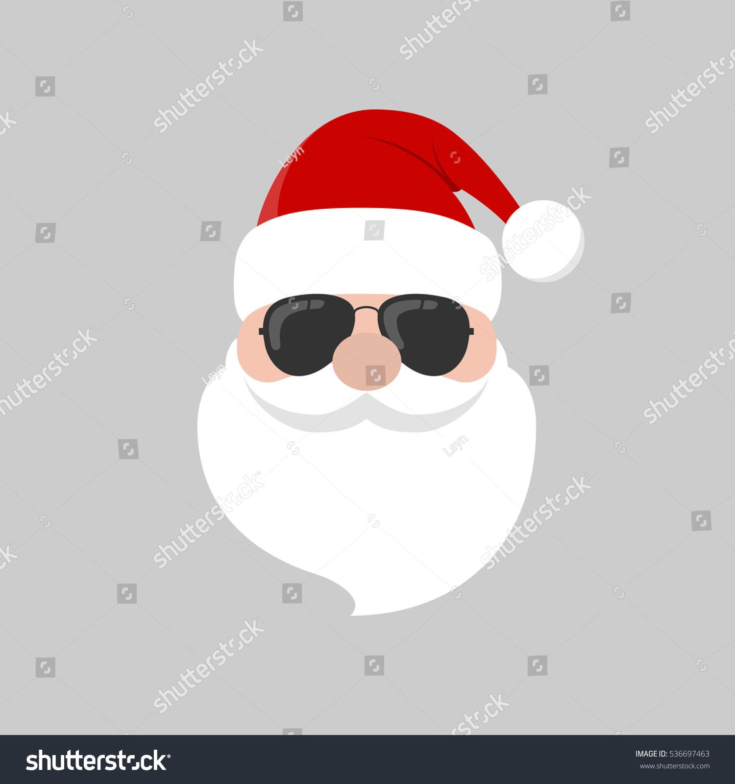 Hipster Santa Claus Cool Beard Sunglasses Stock Vector 536697463