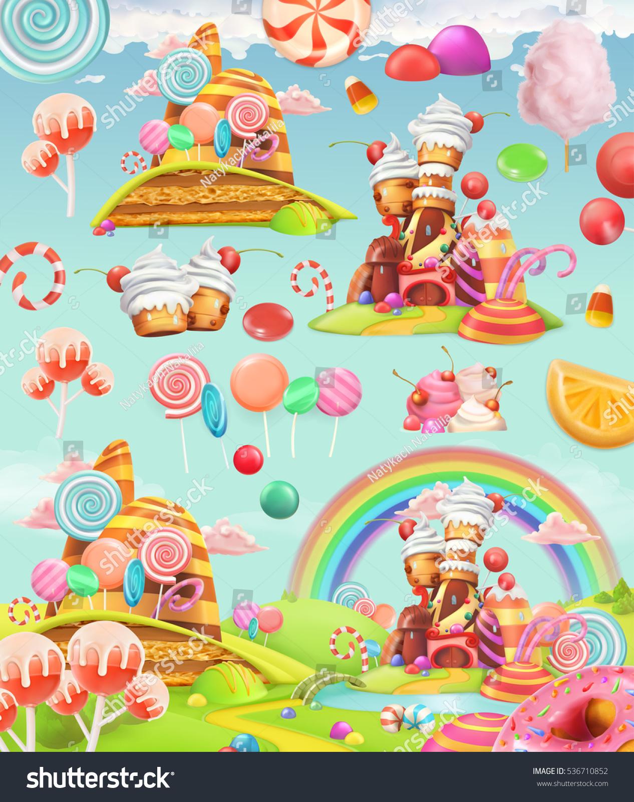 Sweet Candy Land Cartoon Game Background Vector de stock536710852 ...