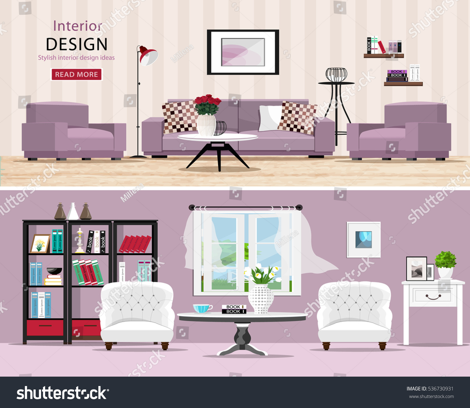Cozy Living Room Vector Illustration: Cute Rooms Set Cozy Classic Modern Stock Vector 536730931
