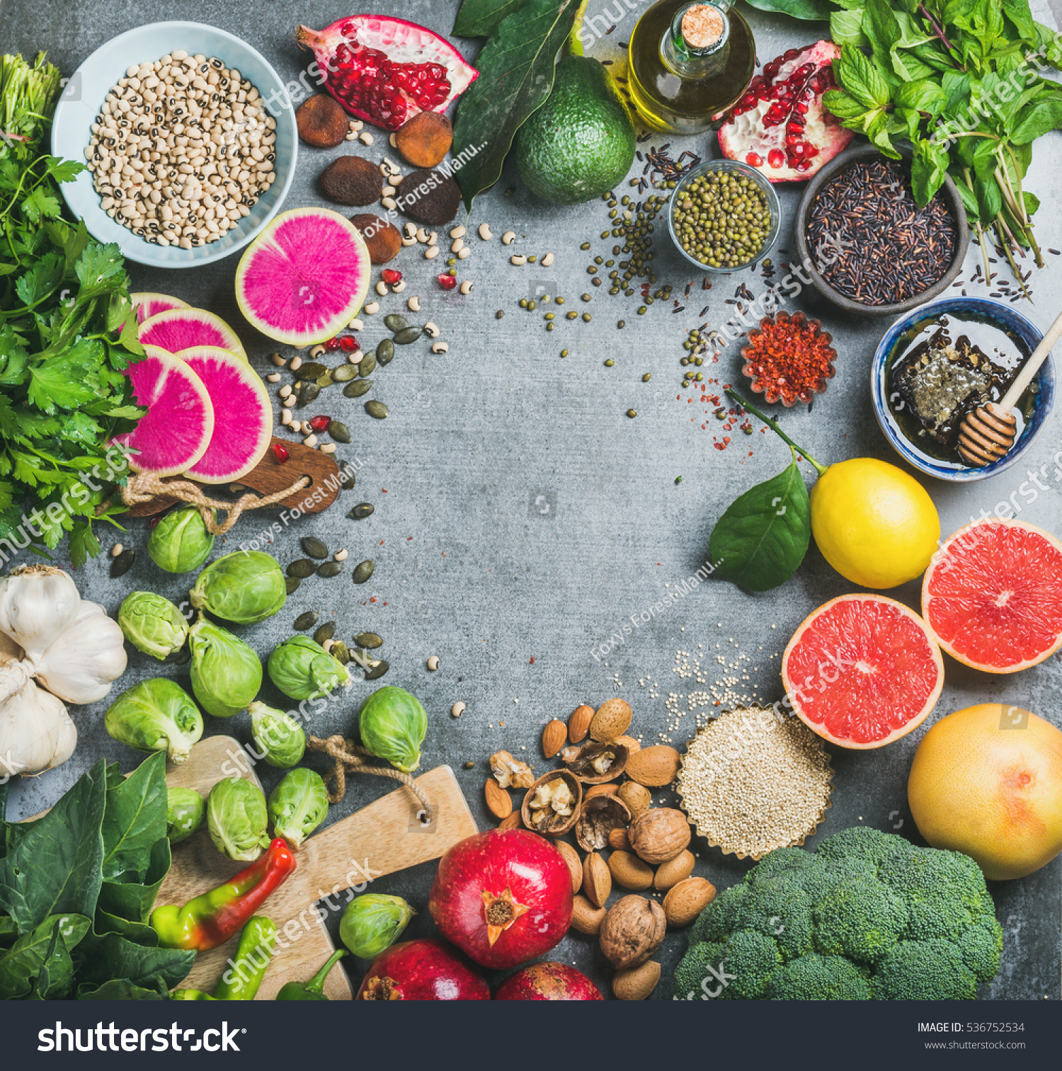 Clean Eating Concept Over Grey Concrete Stock Photo (Royalty Free ...