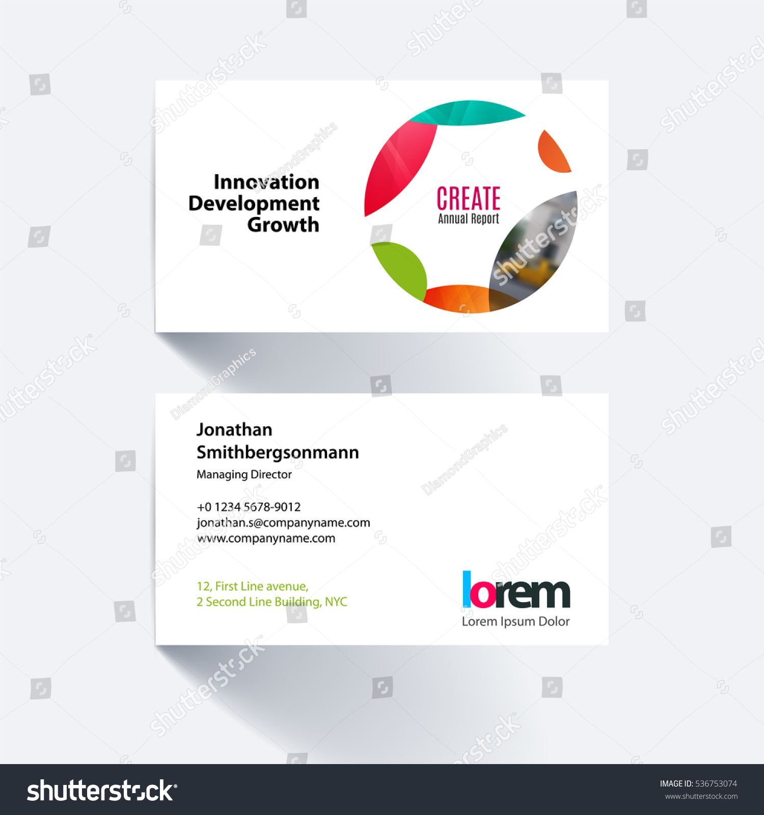 Vector Business Card Template Colourful Circle Stock Vector ...
