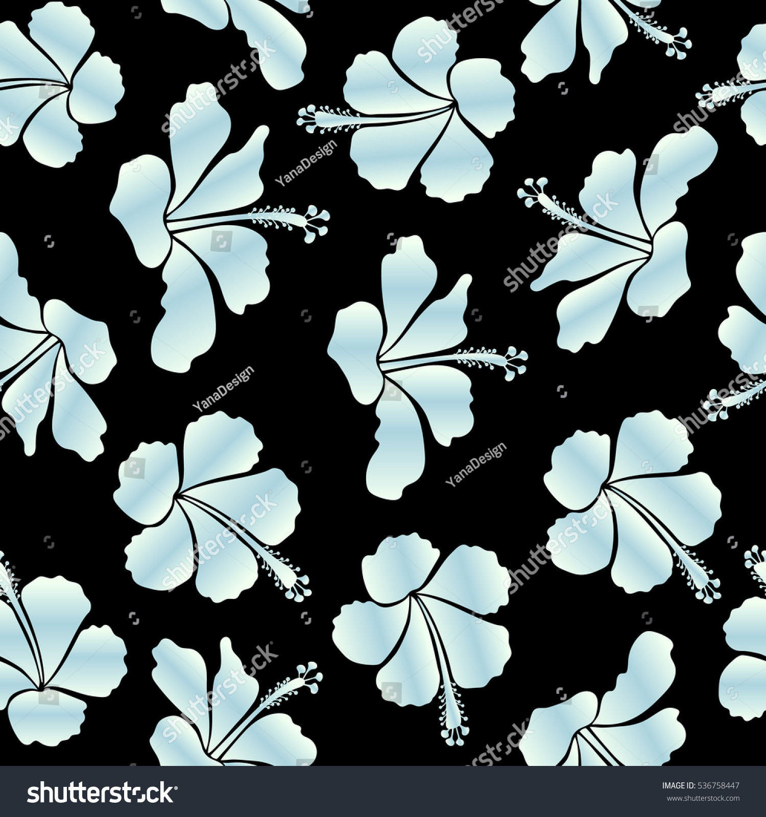 Vector hibiscus flower seamless pattern in beige and black colors vector hibiscus flower seamless pattern in beige and black colors ez canvas izmirmasajfo