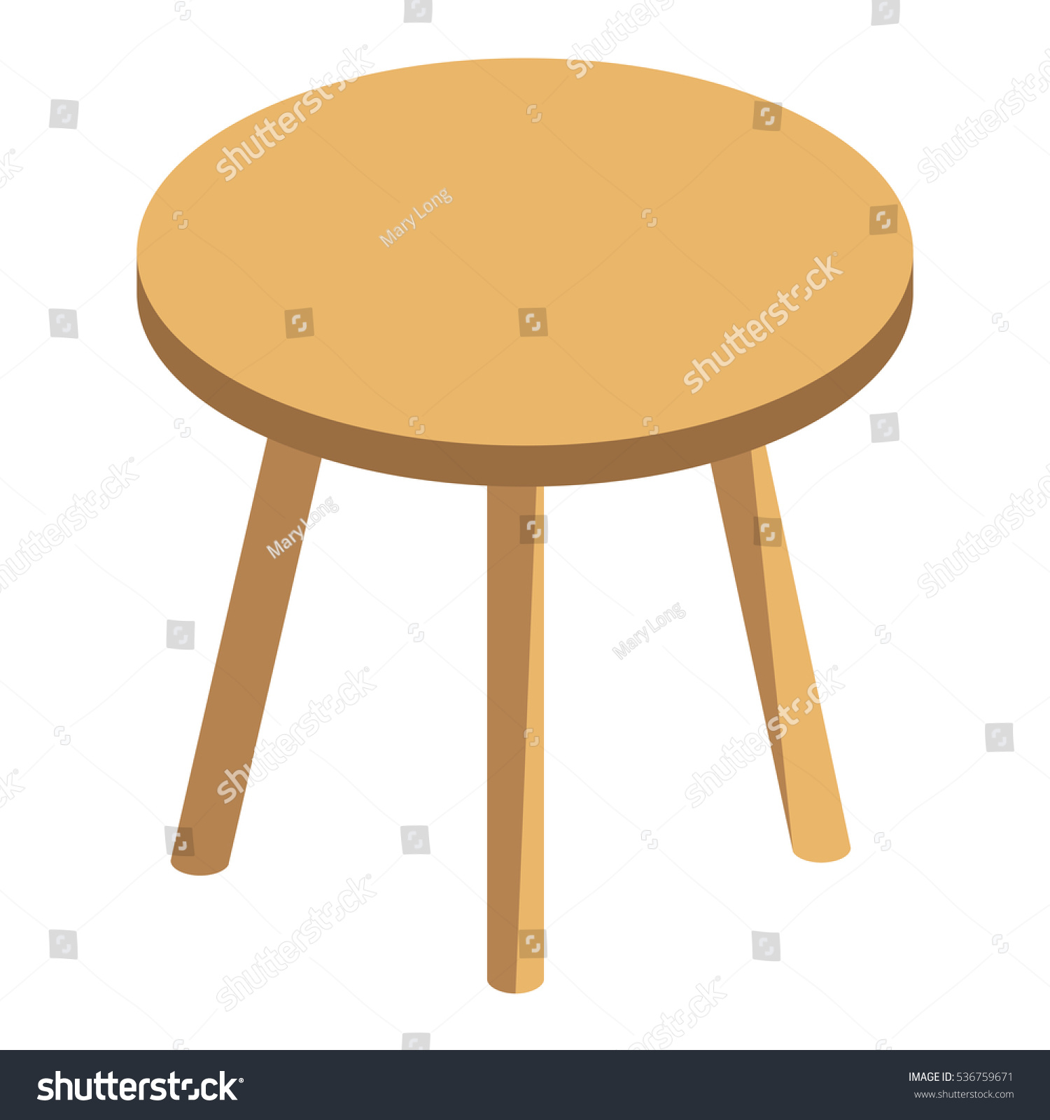 Isometric Vector Round Coffee Table Small Stock Vector