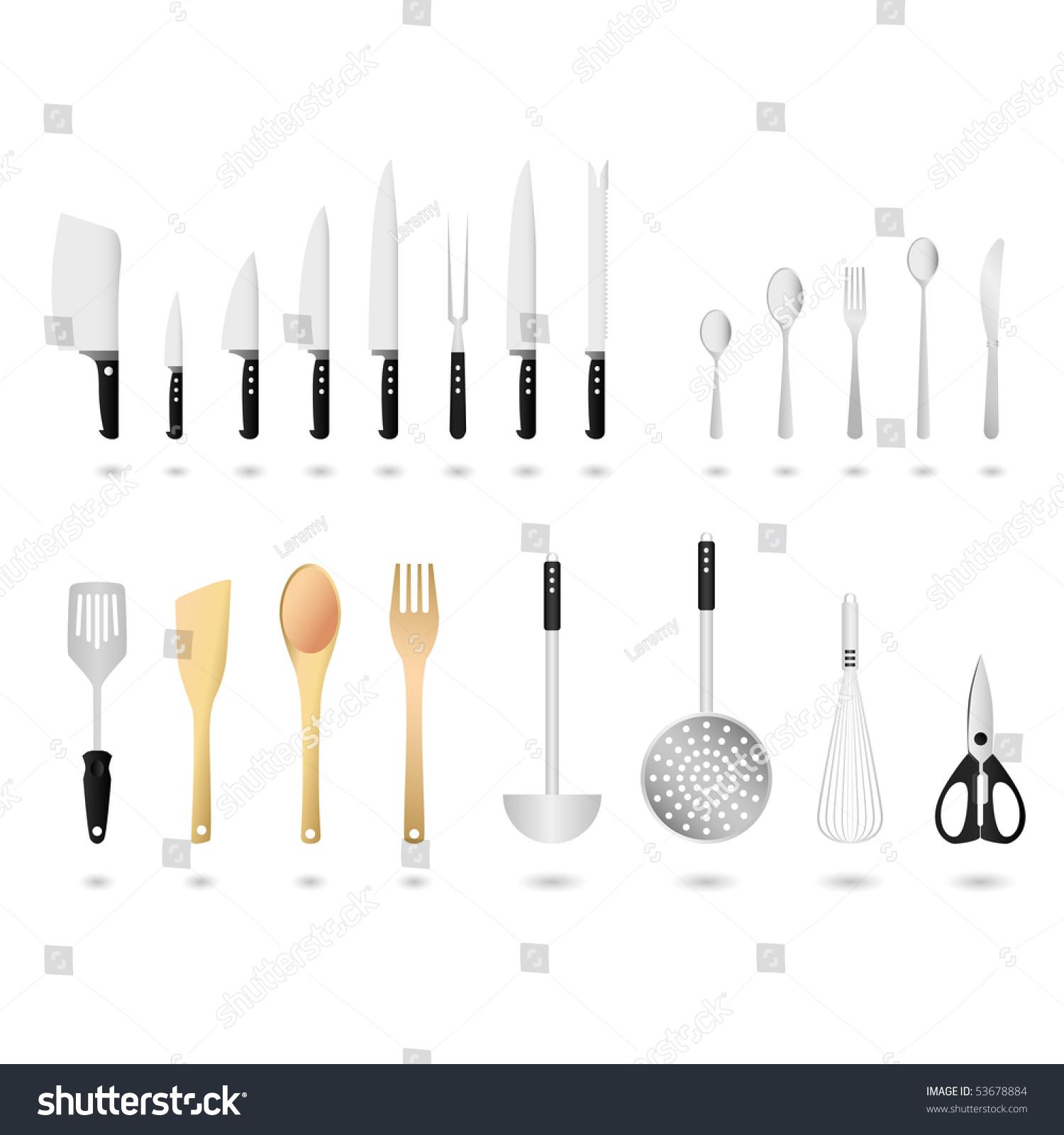 kitchen utensils set vector stock vector shutterstock