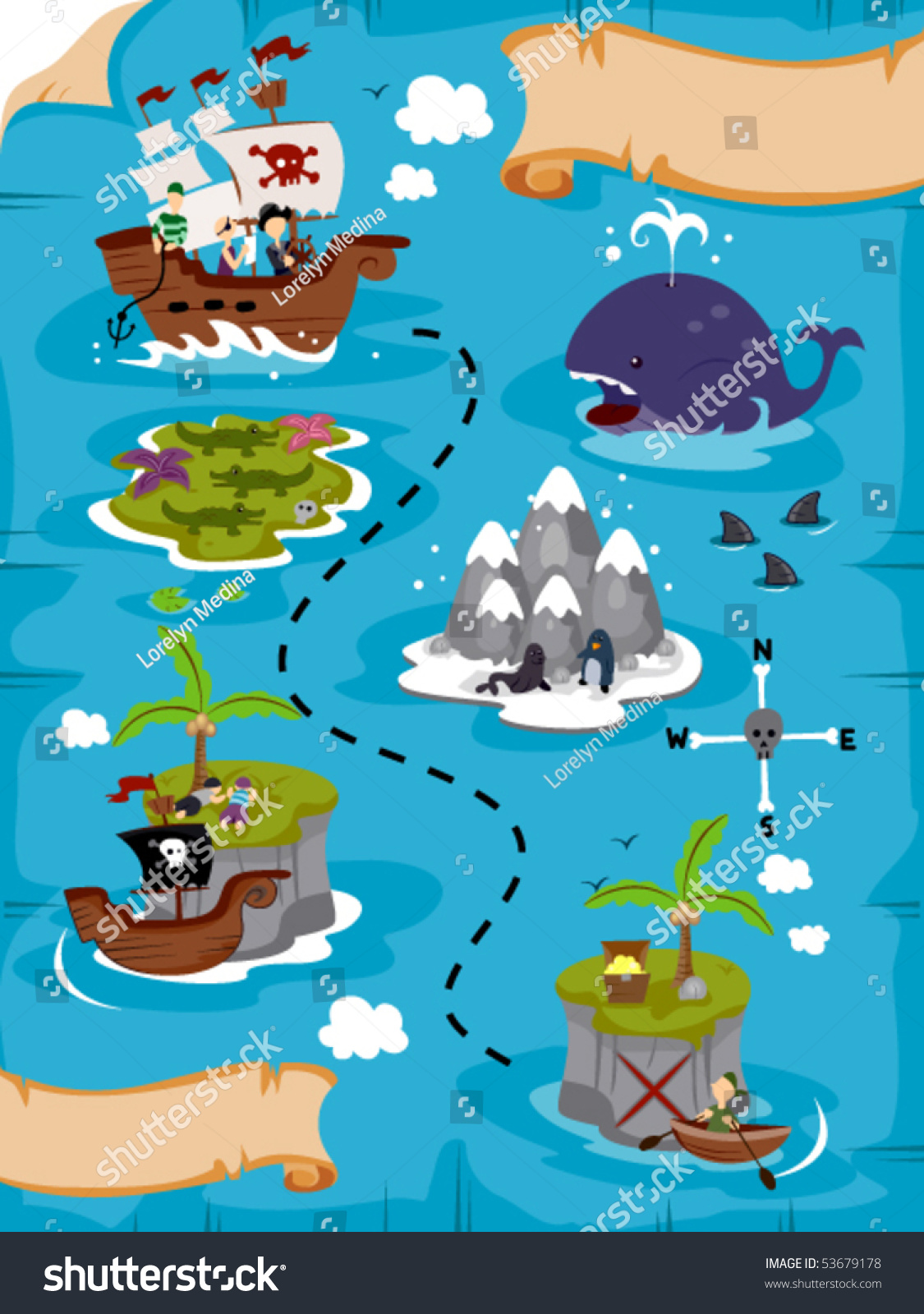 Treasure Map Vector Stock Vector 53679178 - Shutterstock