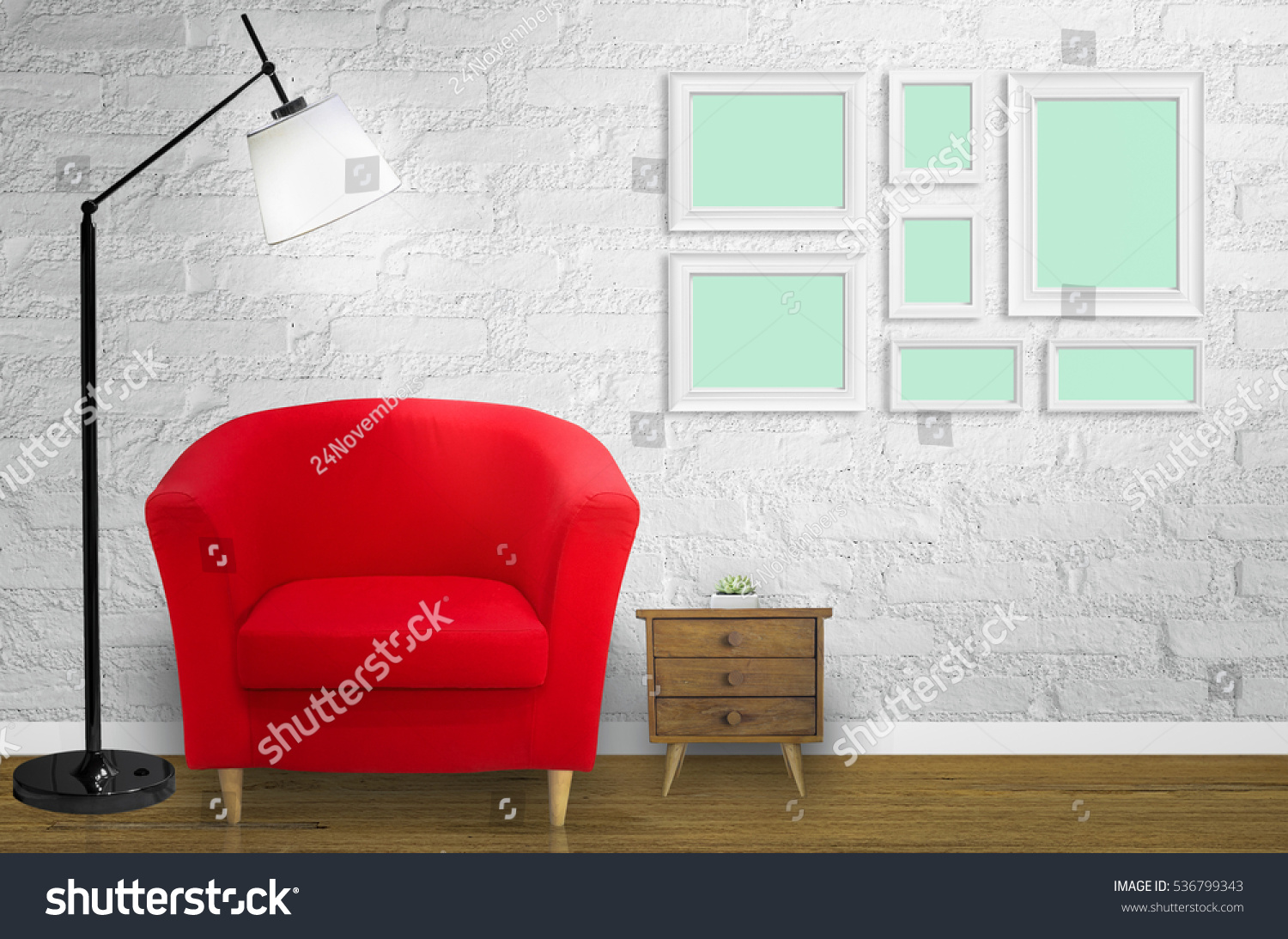 Loft Living Room Red Sofa Front Stock Photo (Royalty Free) 536799343 ...