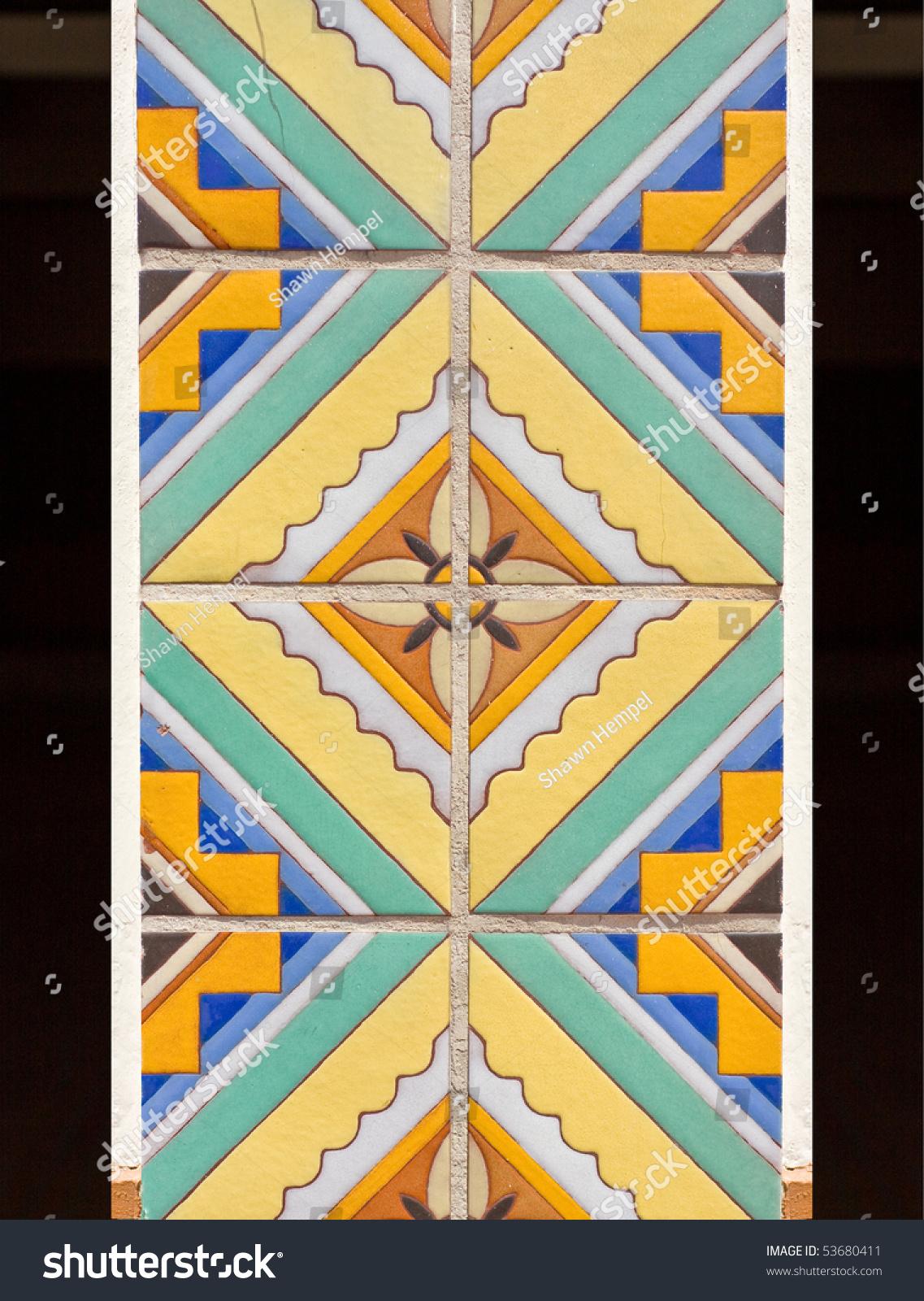 Beautiful Ceramic Tile Mosaic Flower Pattern Stock Photo Edit Now