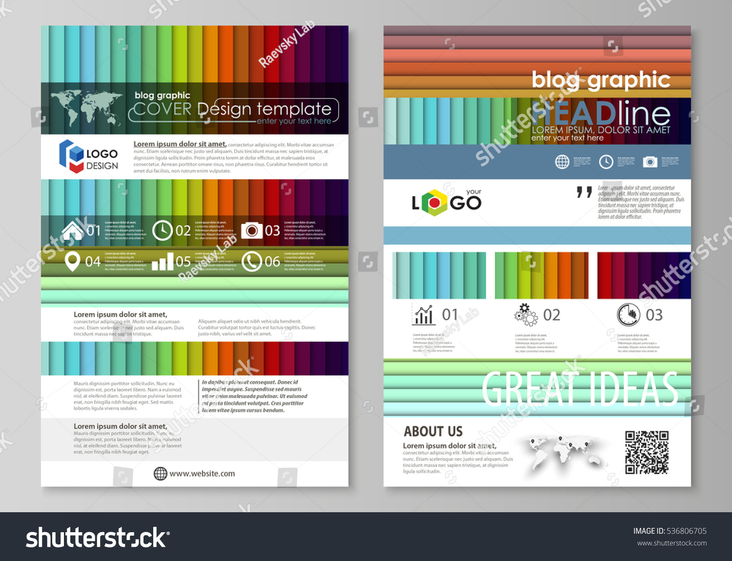 Blog Graphic Business Templates Page Website Stock Vector 536806705 ...