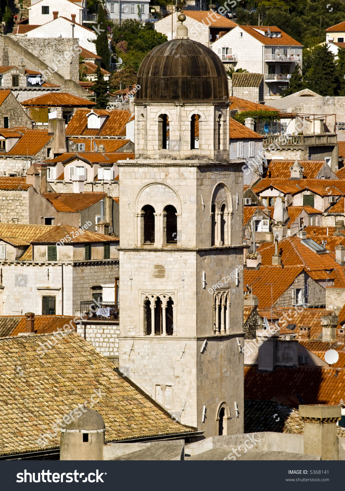 Dubrovnik old town church tower of franciscan monastery - The house in the old franciscan tower ...