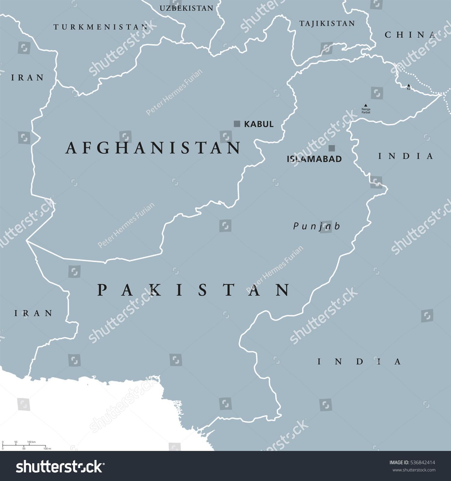 Afghanistan Pakistan Political Map Capitals Kabul Stock Vector - Afghanistan political map